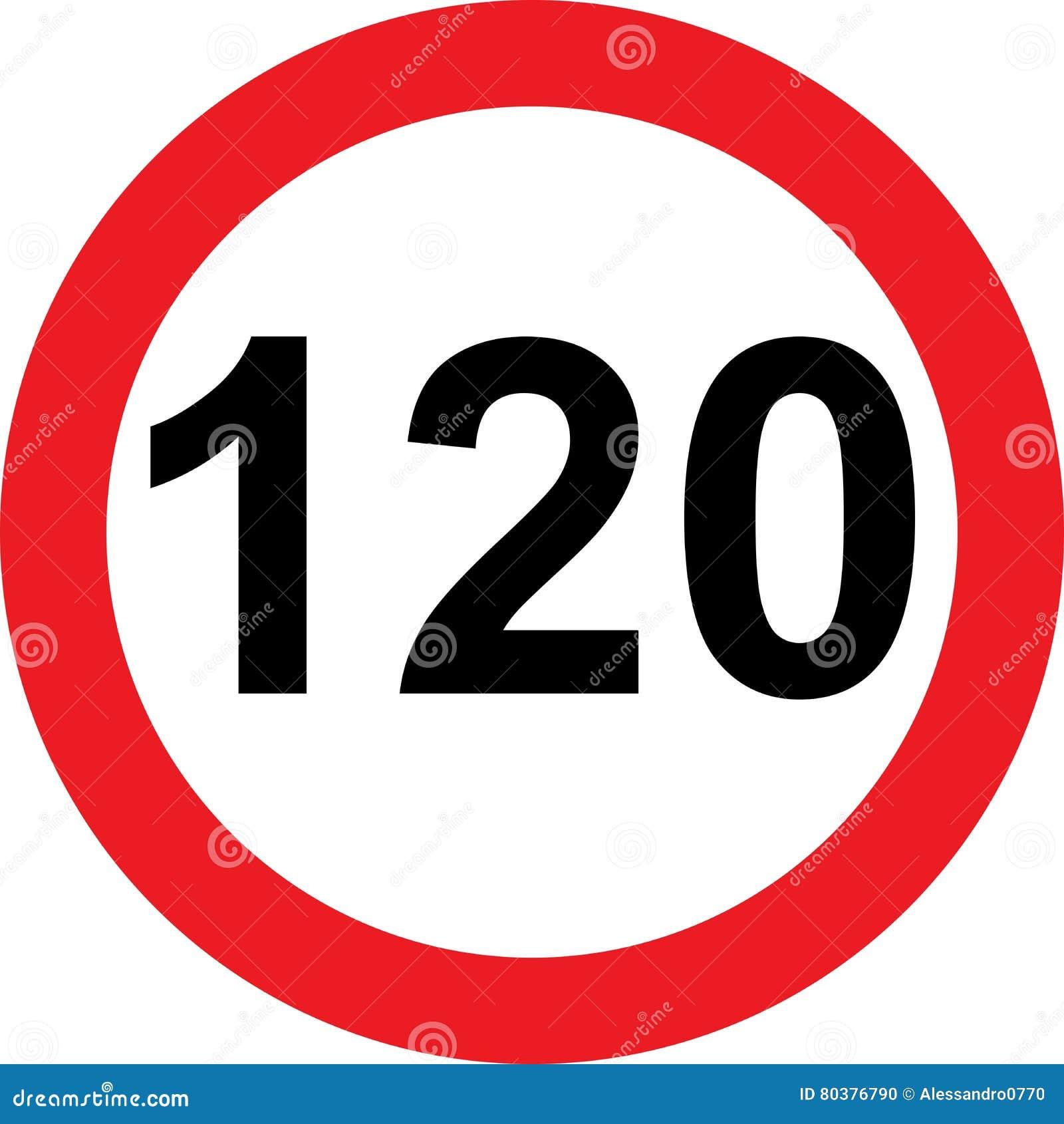Segnale stradale di limitazione di 120 velocità