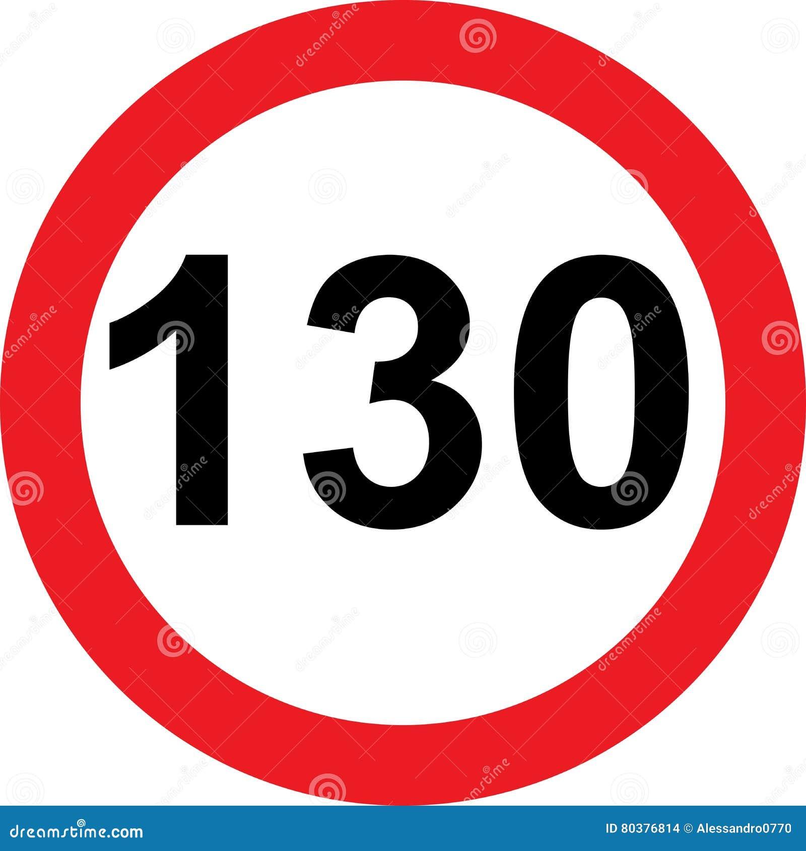 Segnale stradale di limitazione di 130 velocità