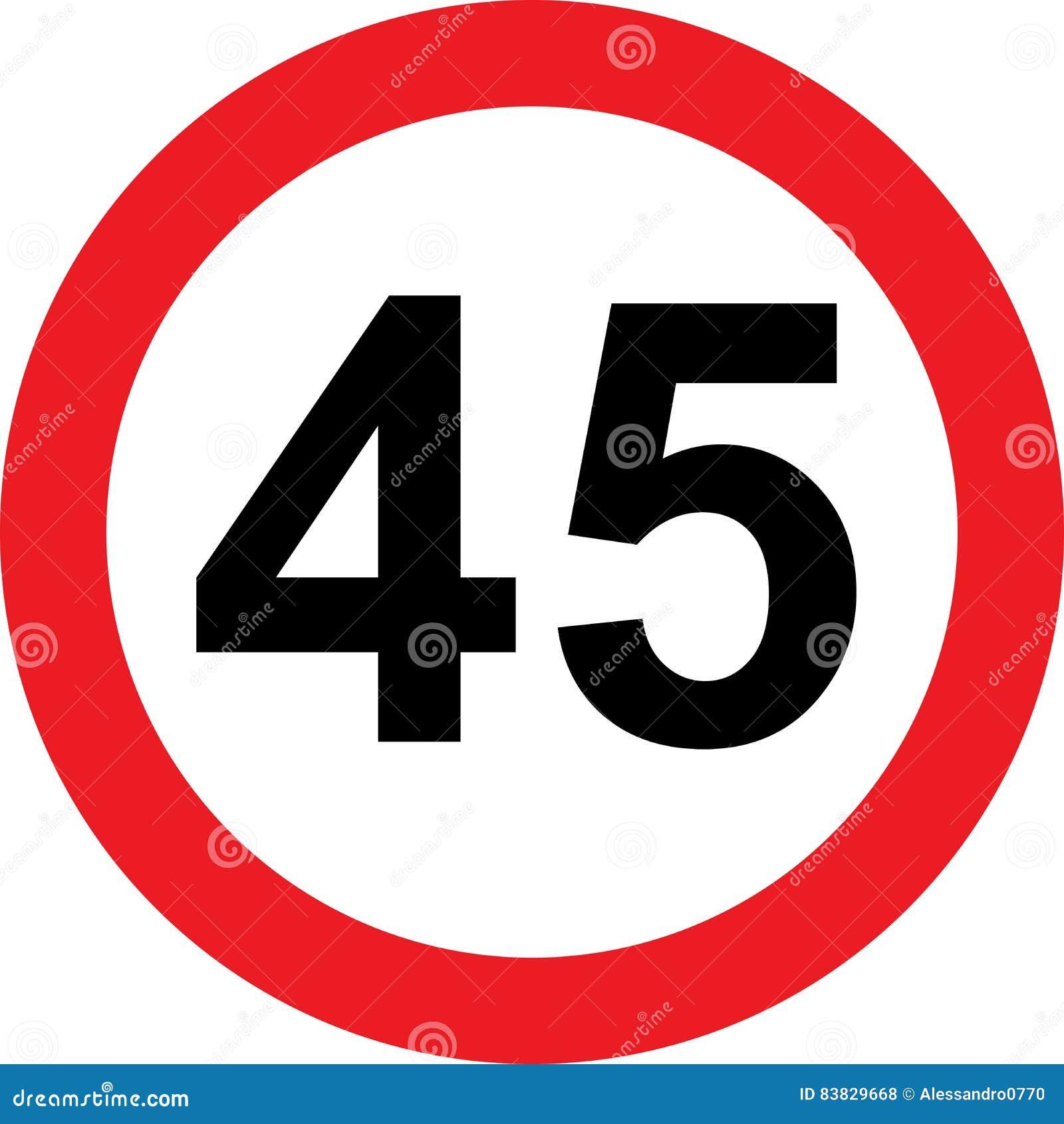 Segnale stradale di limitazione di 45 velocità