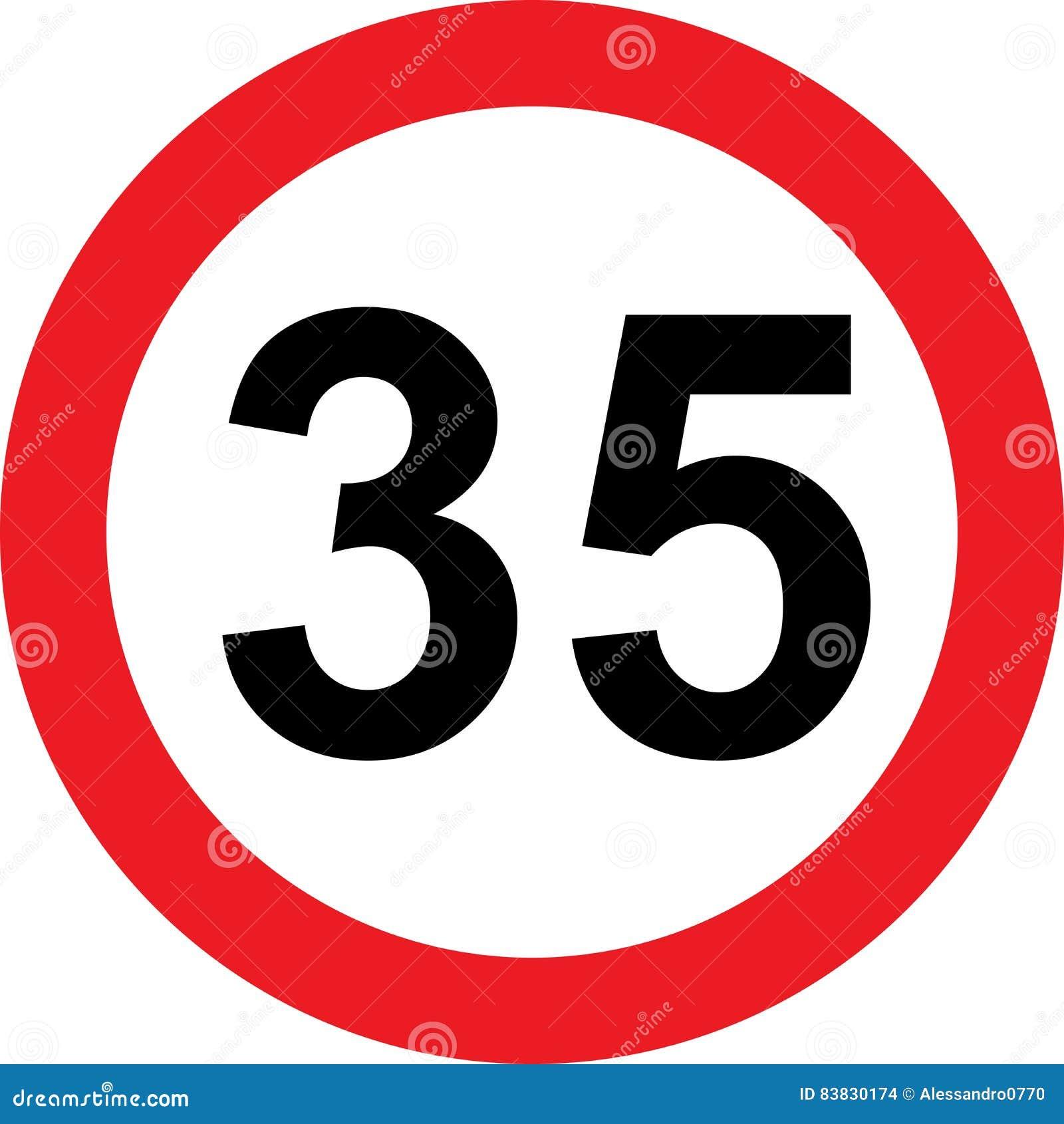 Segnale stradale di limitazione di 35 velocità