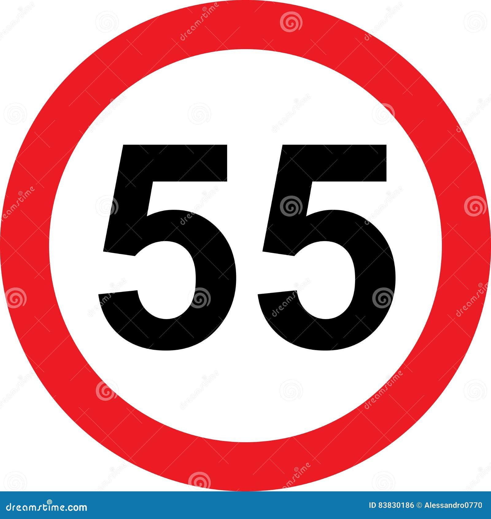 Segnale stradale di limitazione di 55 velocità