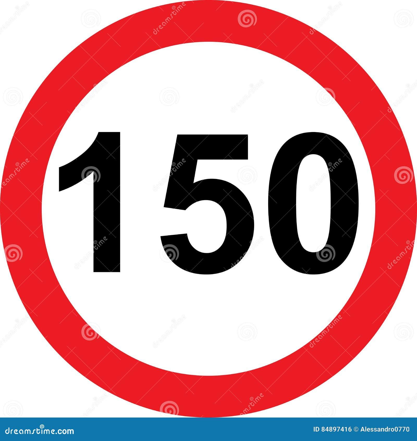 Segnale stradale di limitazione di 150 velocità