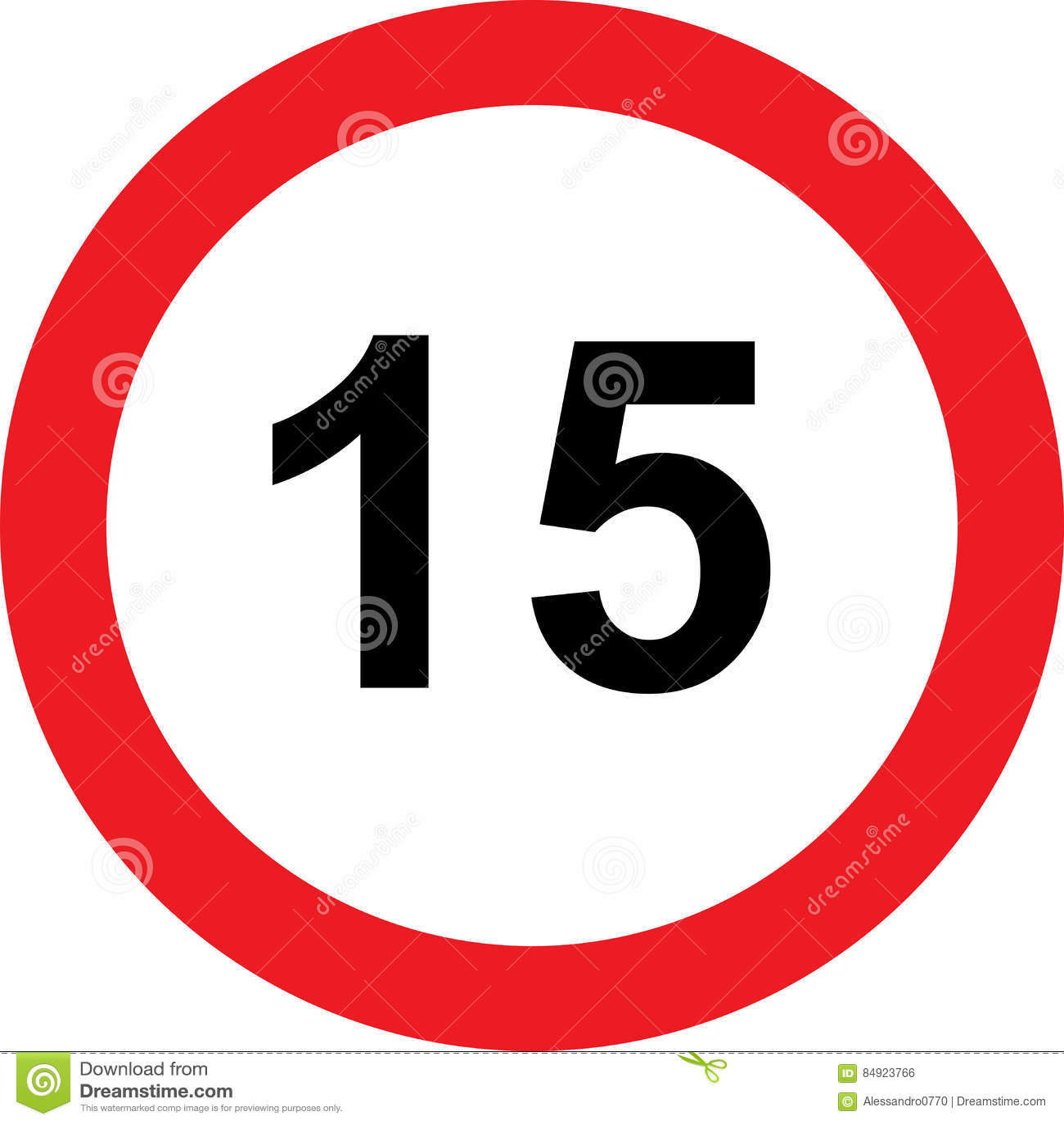Segnale stradale di limitazione di 15 velocità