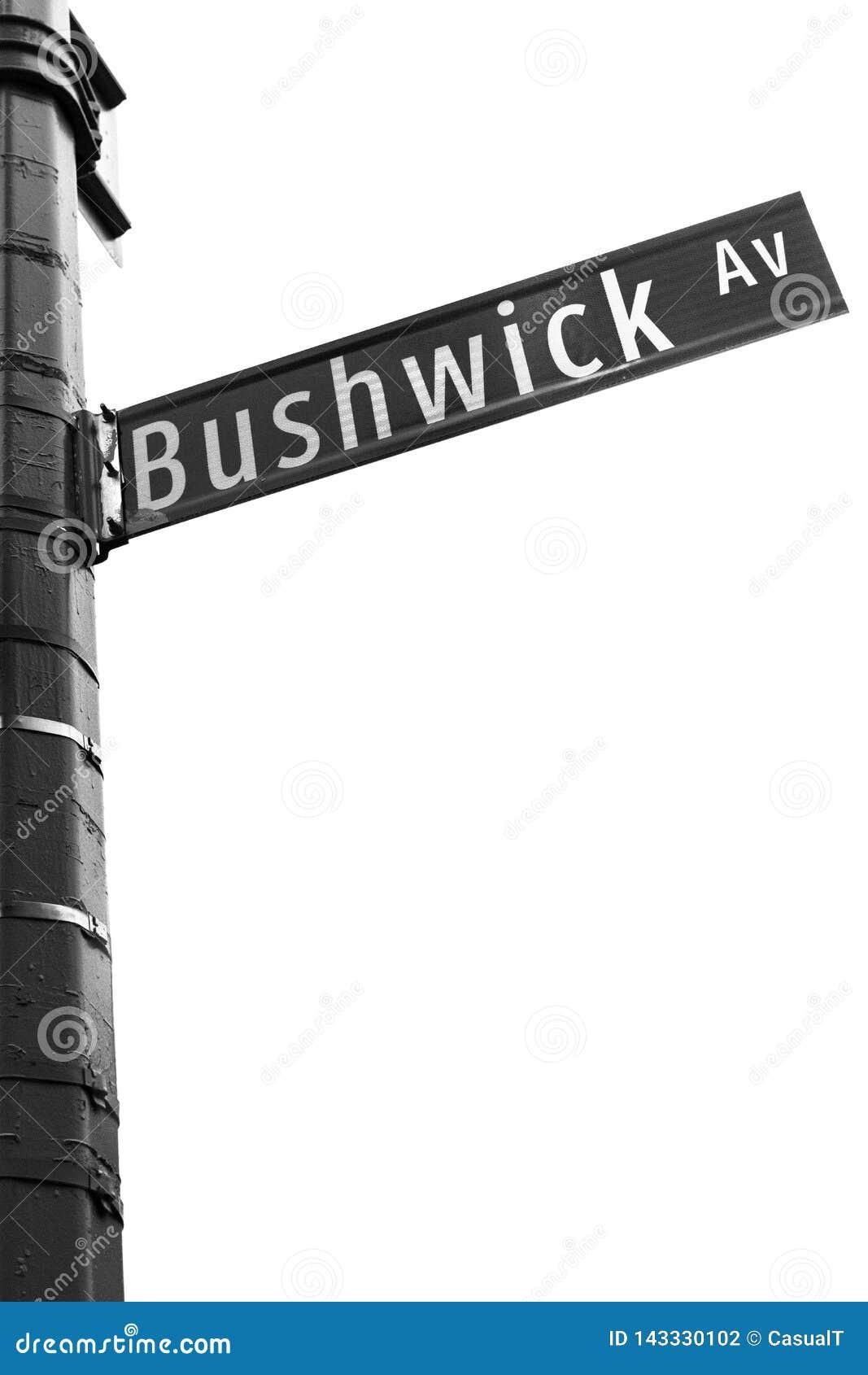 Segnale stradale di New York al viale di Bushwick, Brooklyn, NYC, U.S.A.