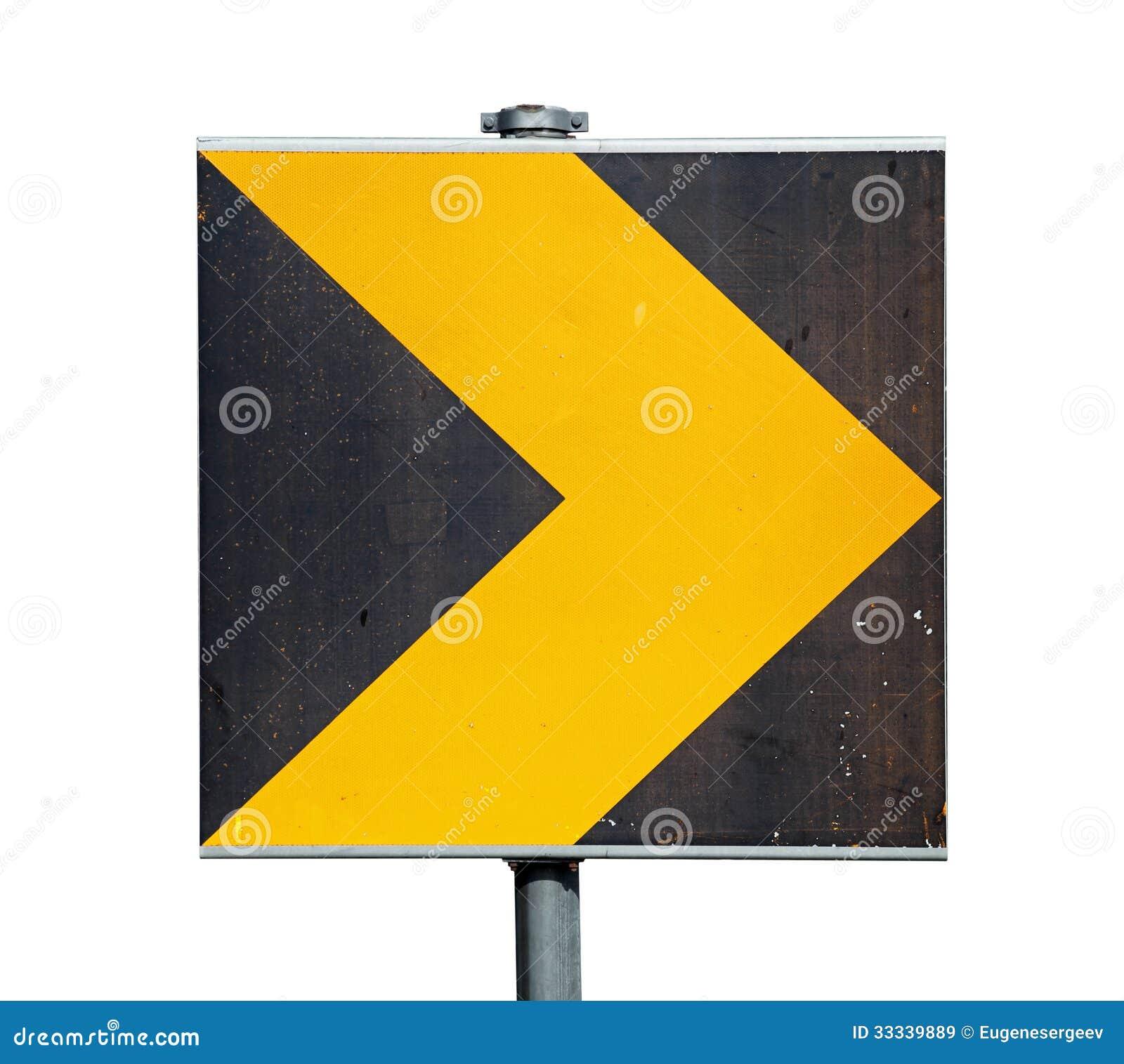 Segnale stradale giallo e nero di giro isolato su bianco