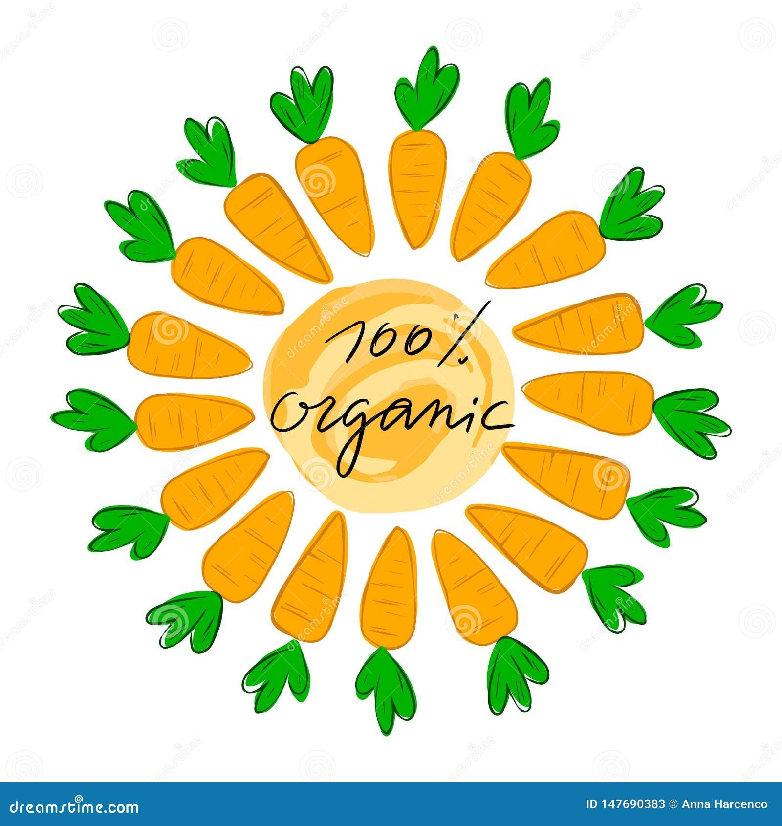 Segnando 100  con lettere organico con l illustrazione di vettore della carota Logo, bollo Sano, fresco, organico, alimento di ec