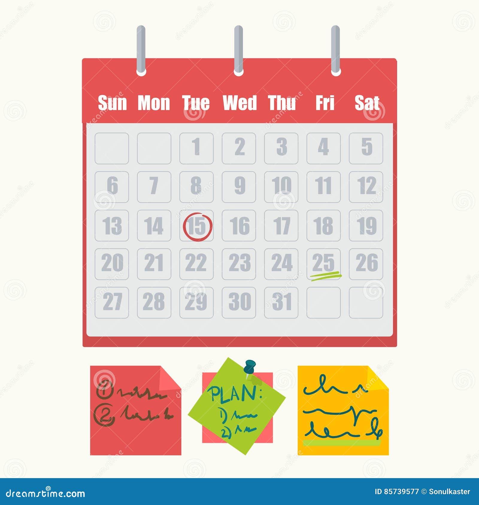 Calendario Segni.Segni Del Calendario Ed Icone Appiccicose Di Vettore Delle