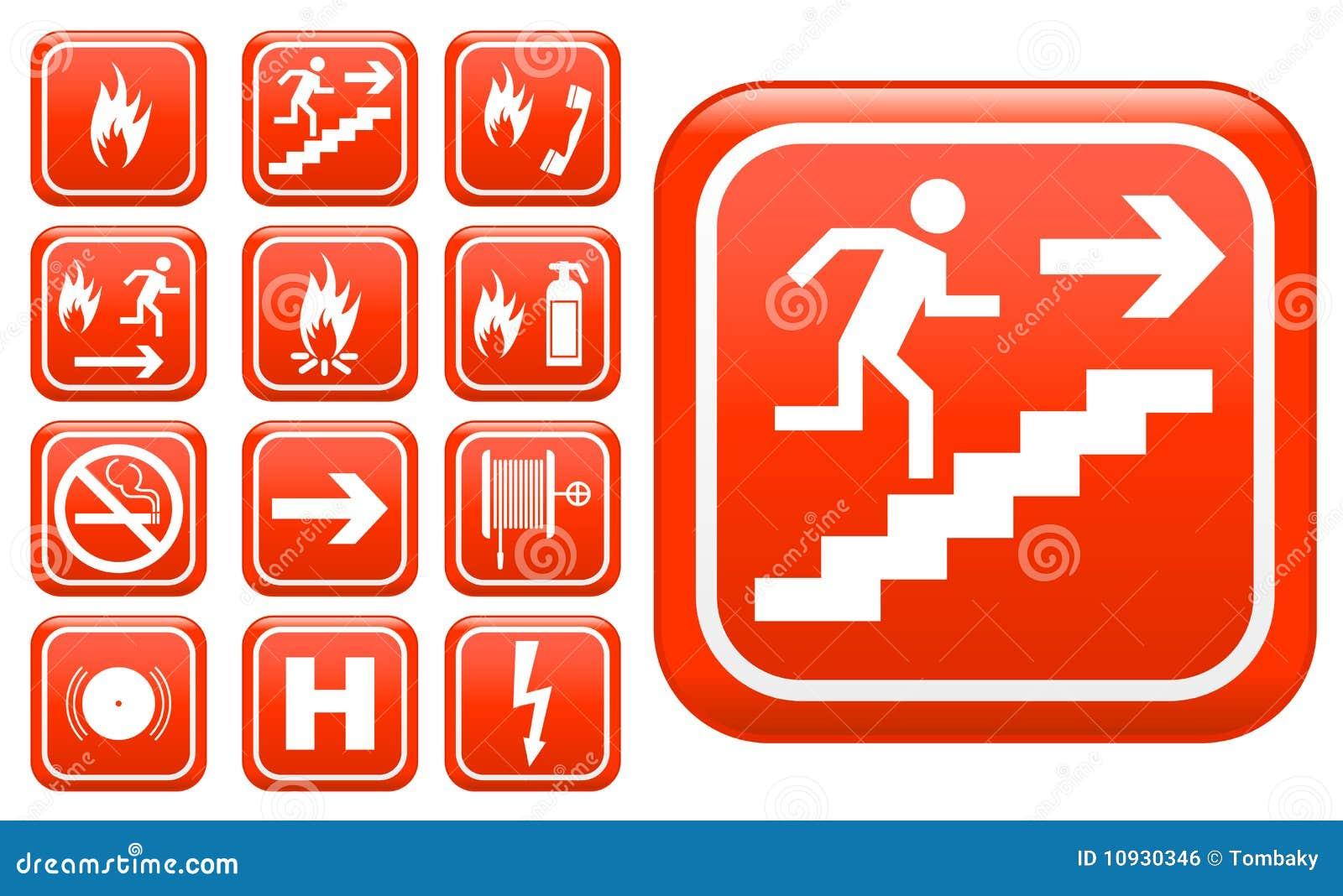 Segni di protezione antincendio di emergenza del Ed