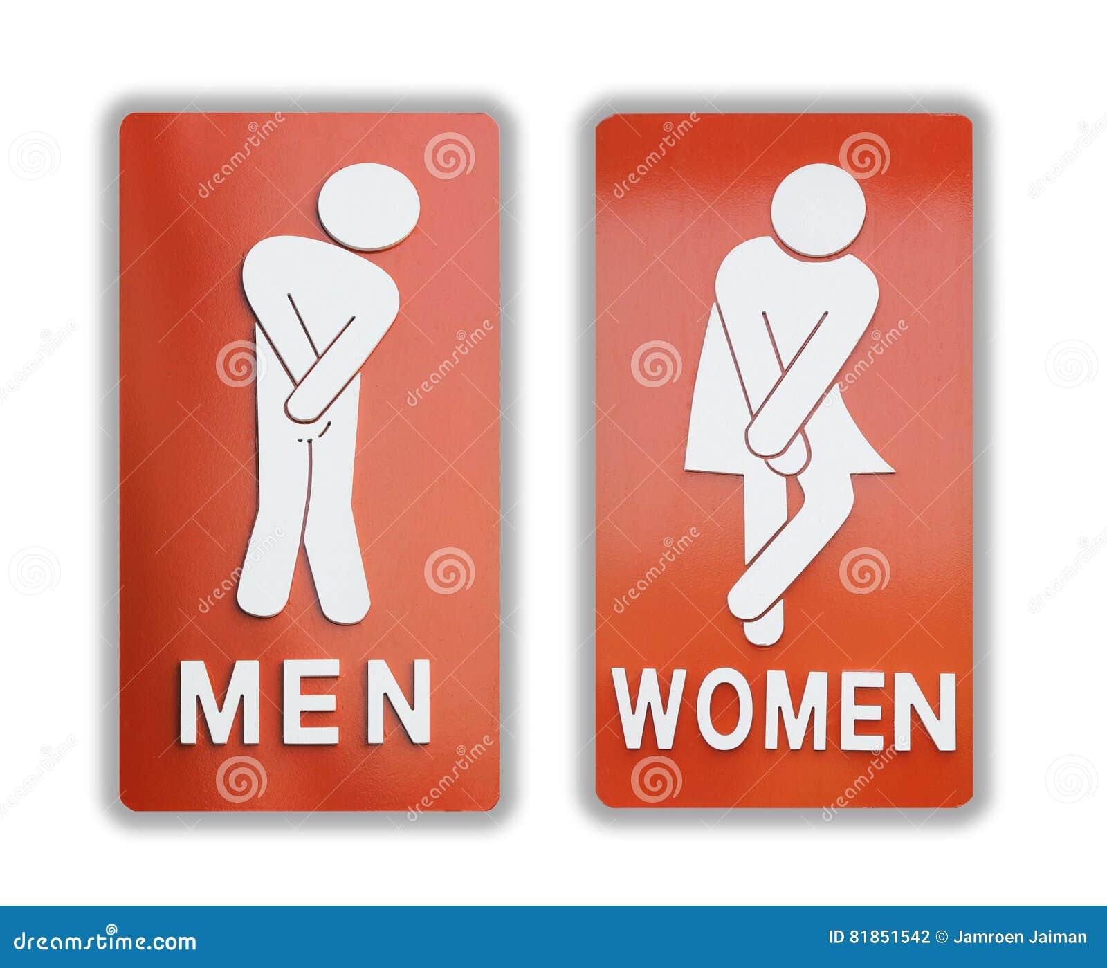 Segni femminili e bagno maschio su fondo bianco fotografia stock immagine 81851542 - Etichetta bagno donne ...