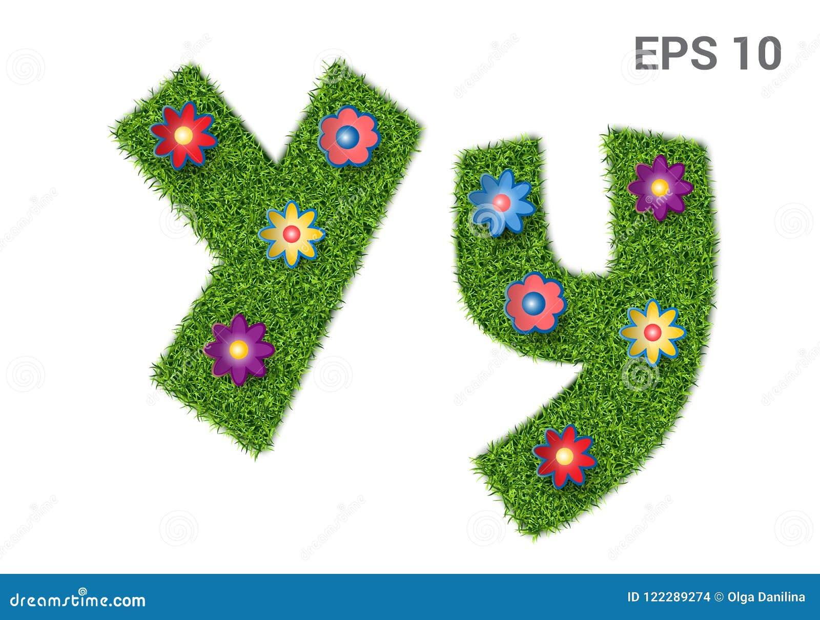 Segni il Yy con lettere con una struttura di erba e dei fiori