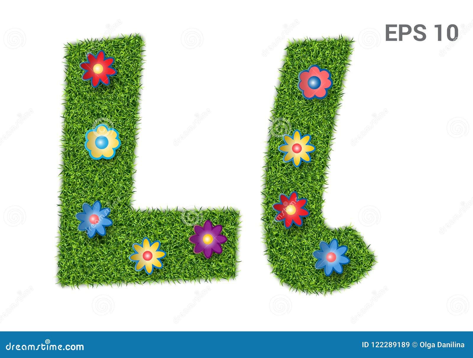 Segni Ll con lettere con una struttura di erba e dei fiori