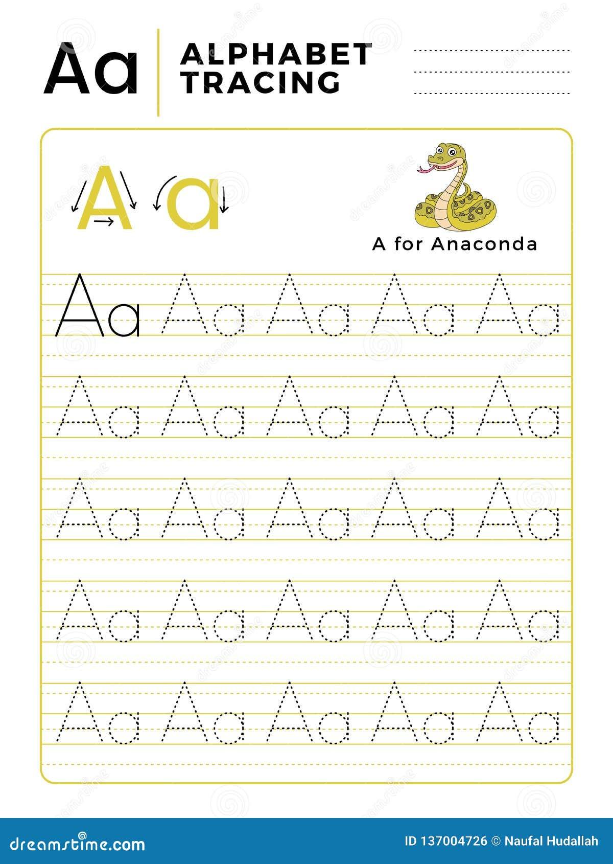 Segni un libro con lettere del tracciato dell alfabeto con l esempio ed il fumetto divertente del serpente dell anaconda Foglio d