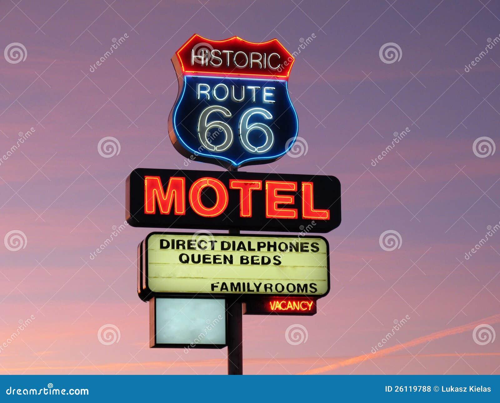Segno al neon dell itinerario 66 storici