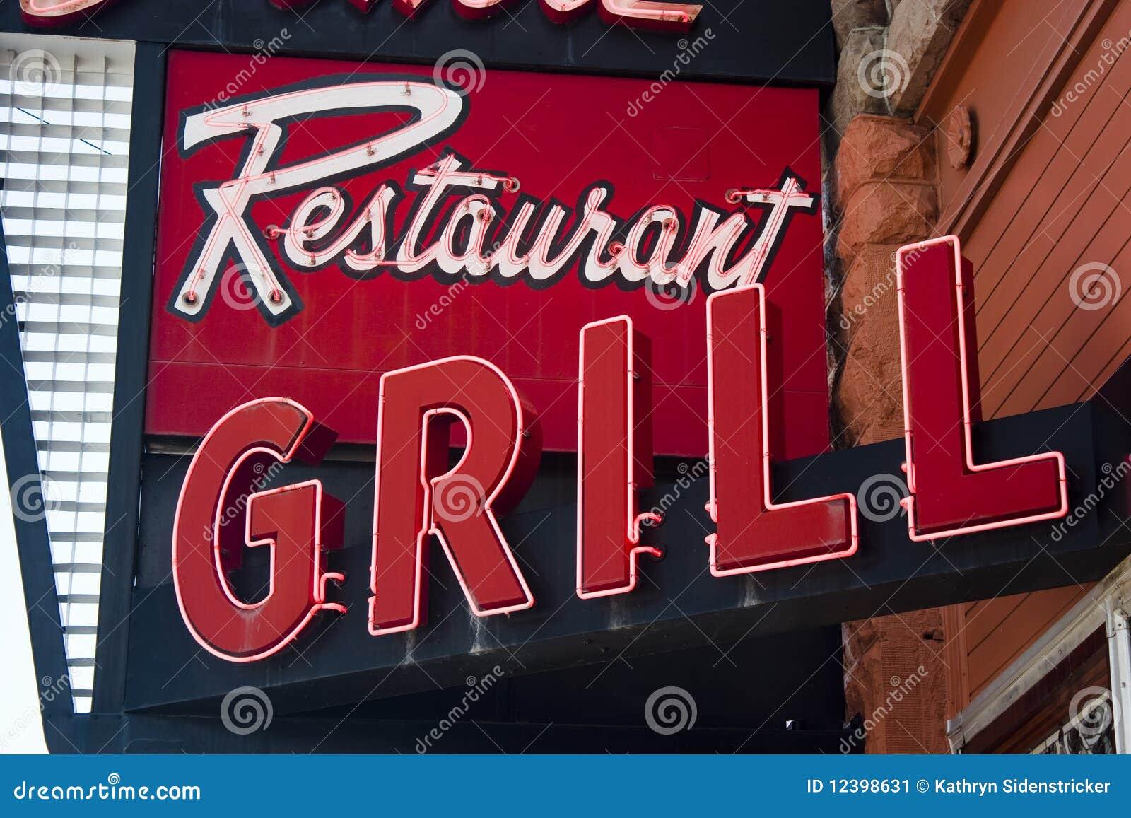 Segno al neon della griglia del ristorante