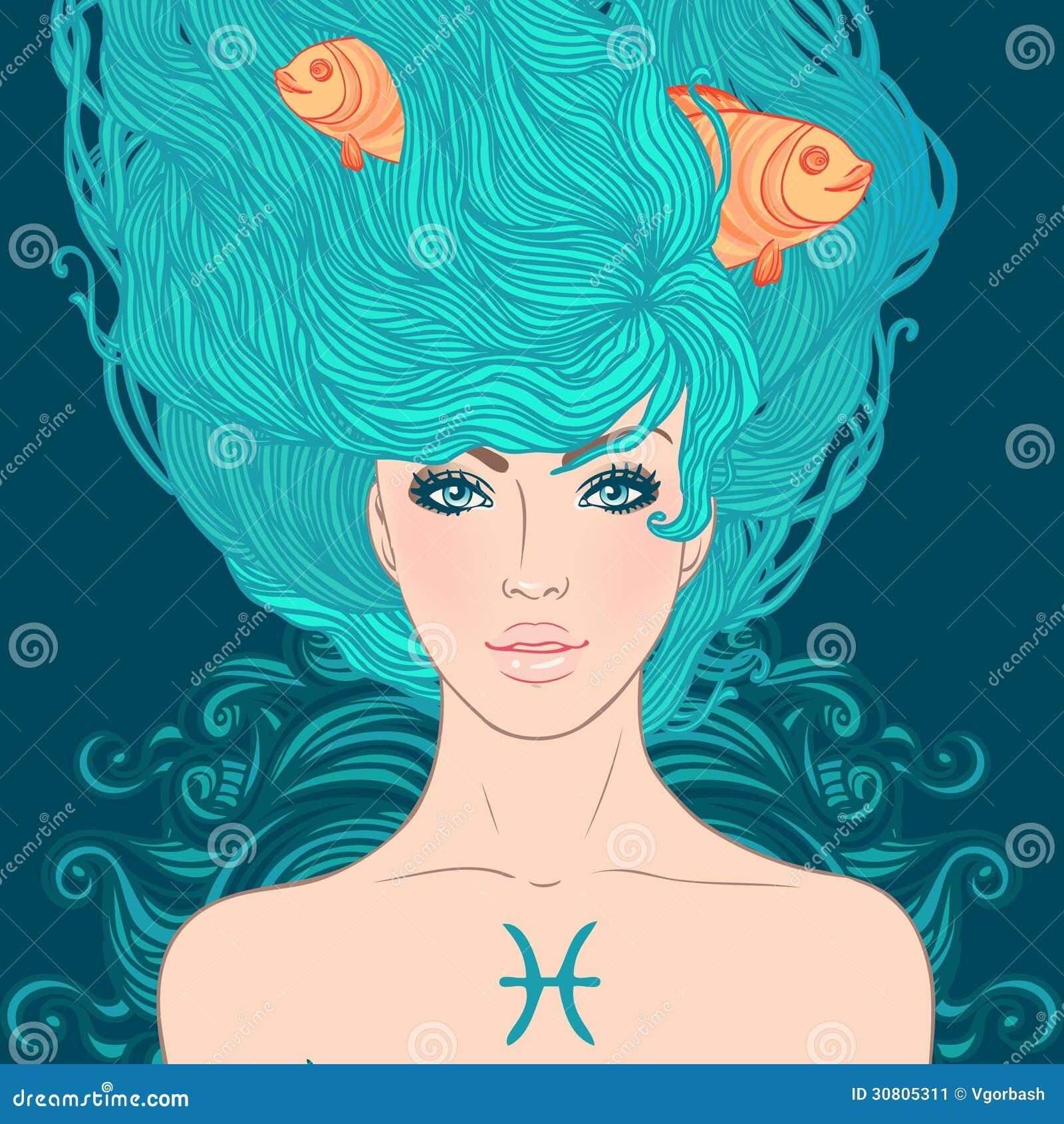 Segno astrologico di pesci come bella ragazza.