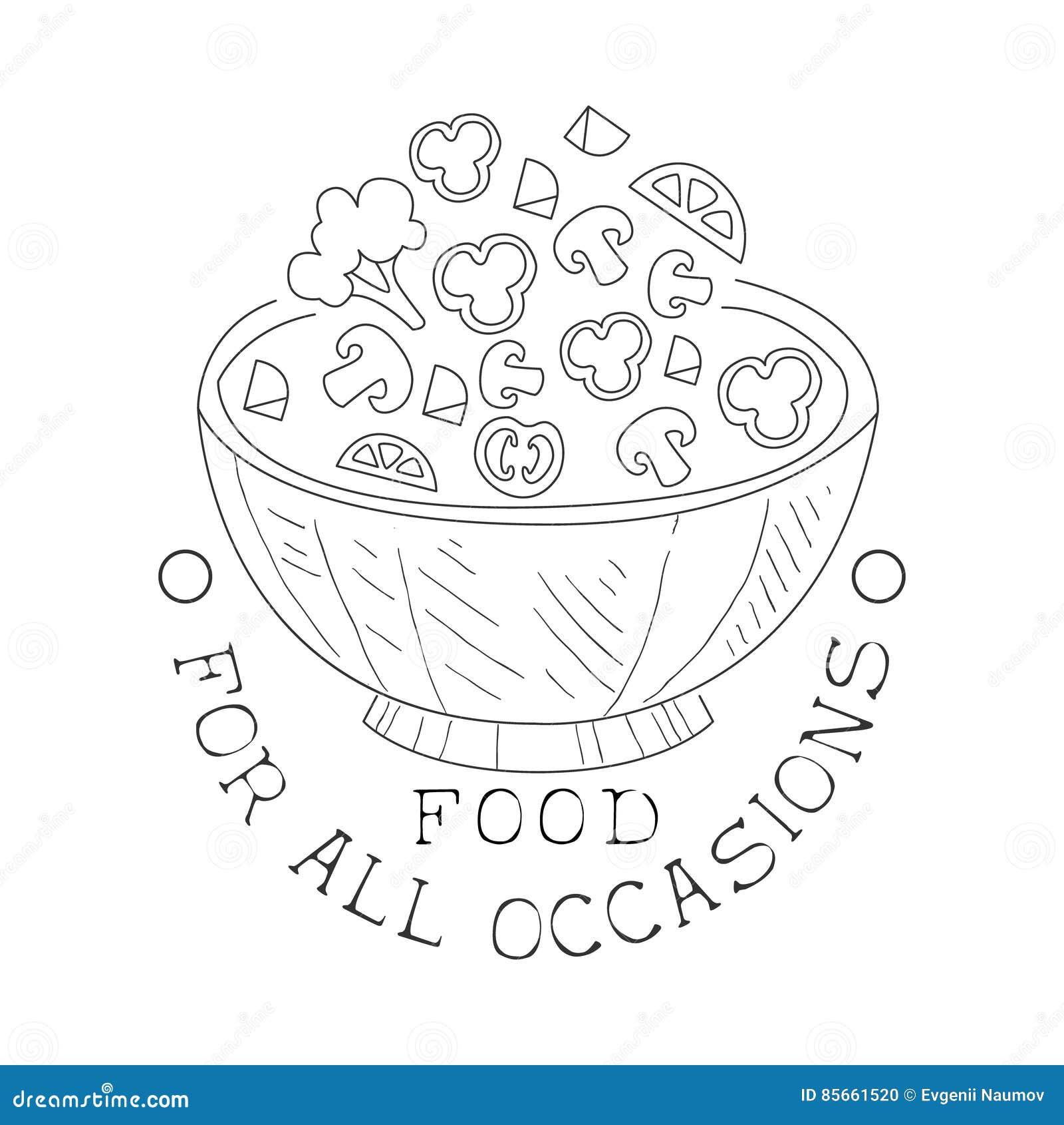 Segno in bianco e nero disegnato a mano di migliore servizio di approvvigionamento con il modello di progettazione dell insalatie
