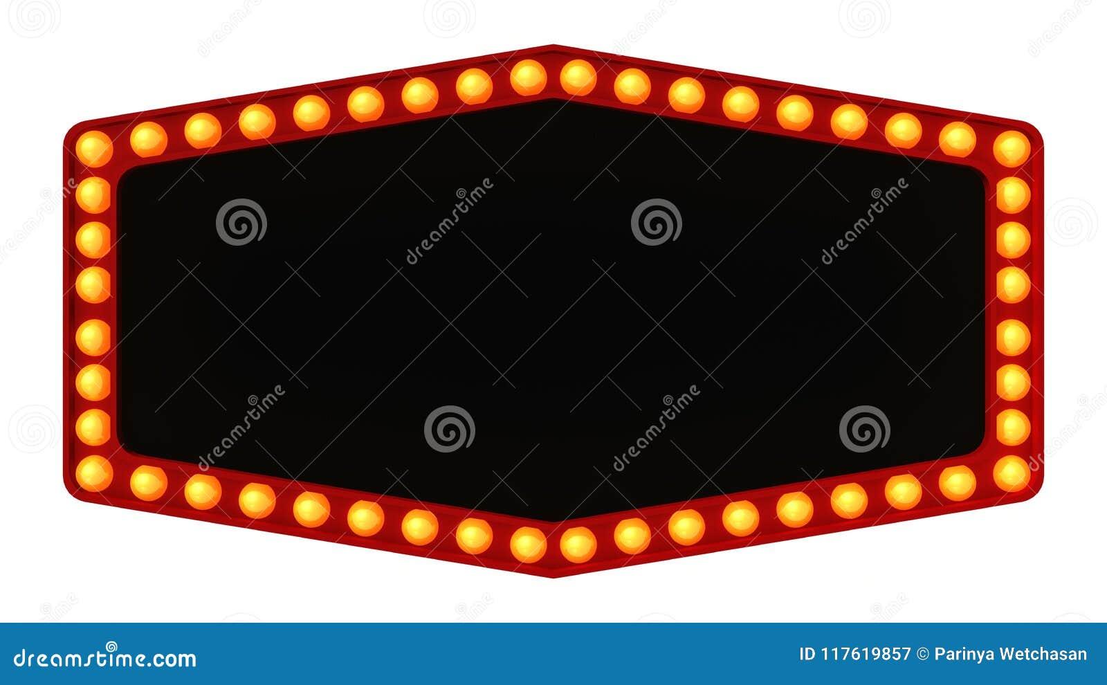Segno del bordo della luce della tenda foranea retro su fondo bianco rappresentazione 3d