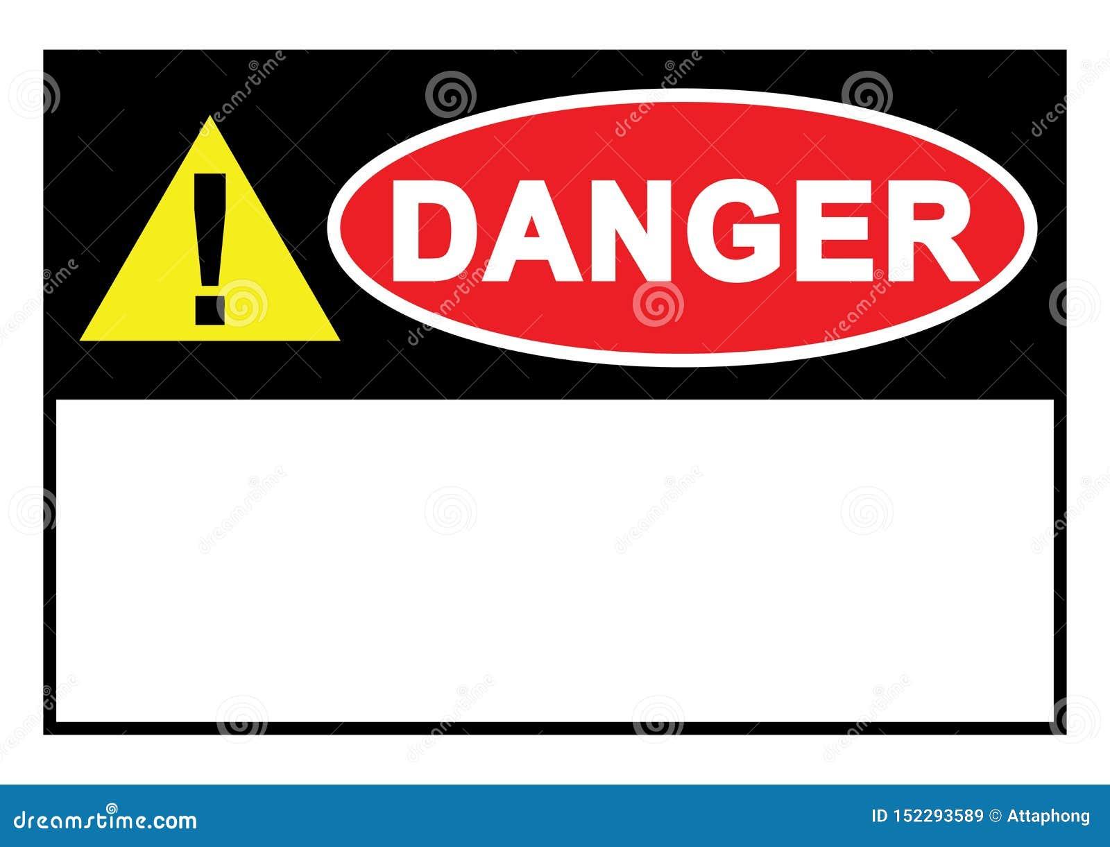 Segno del pericolo del segnale di pericolo con spazio per i vostri modelli di carta stampabili del testo disponibili per il vetto
