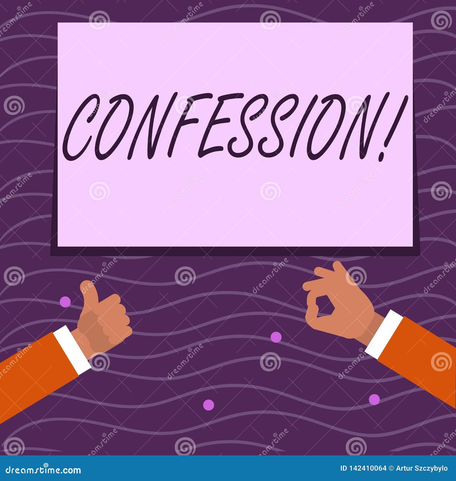 Segno del testo che mostra confessione Asserzione concettuale due di espressione di Divulgence di rivelazione di rivelazione di a