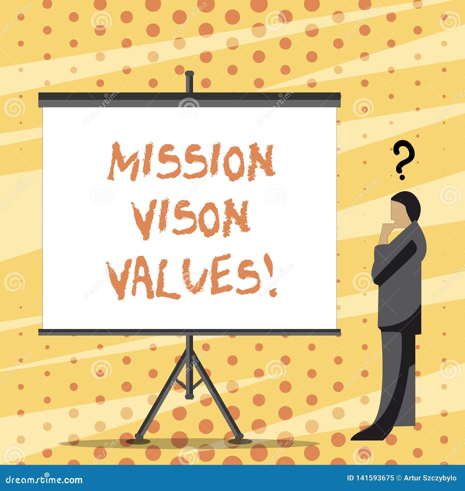 Segno del testo che mostra i valori di Vison di missione Pianificazione concettuale della foto per le giuste decisioni di carrier