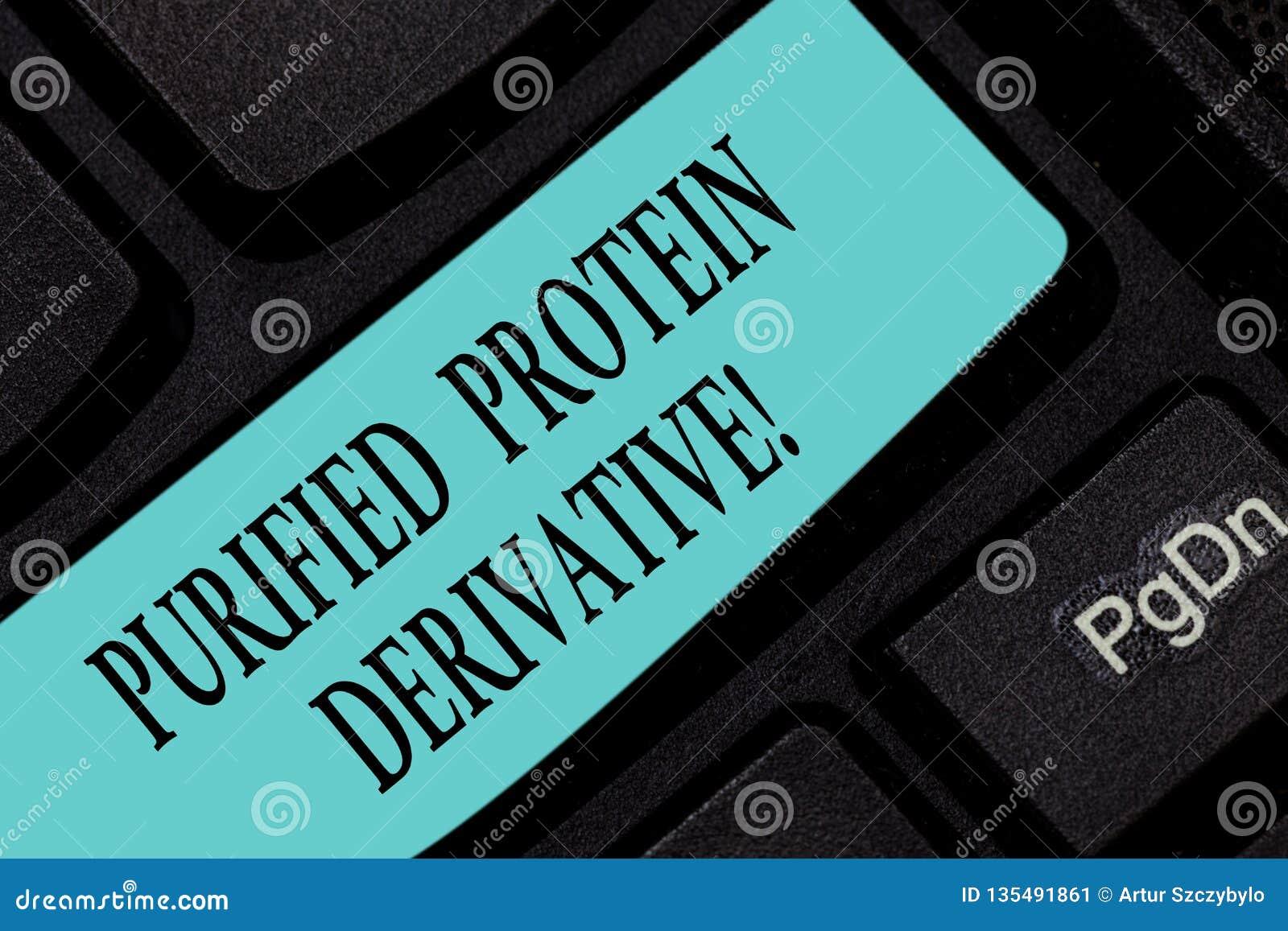 Segno del testo che mostra il derivato purificato della proteina Foto concettuale l estratto di chiave di tastiera di mycobacteri