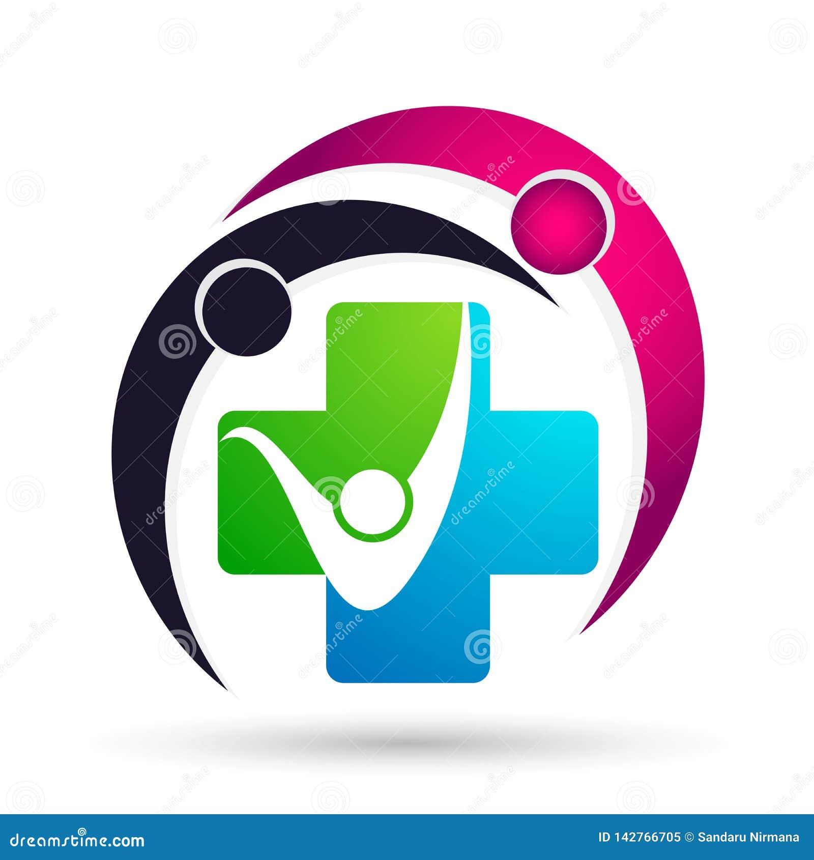 Segno dell elemento dell icona di logo di concetto di benessere della clinica dell incrocio di salute della famiglia del globo di