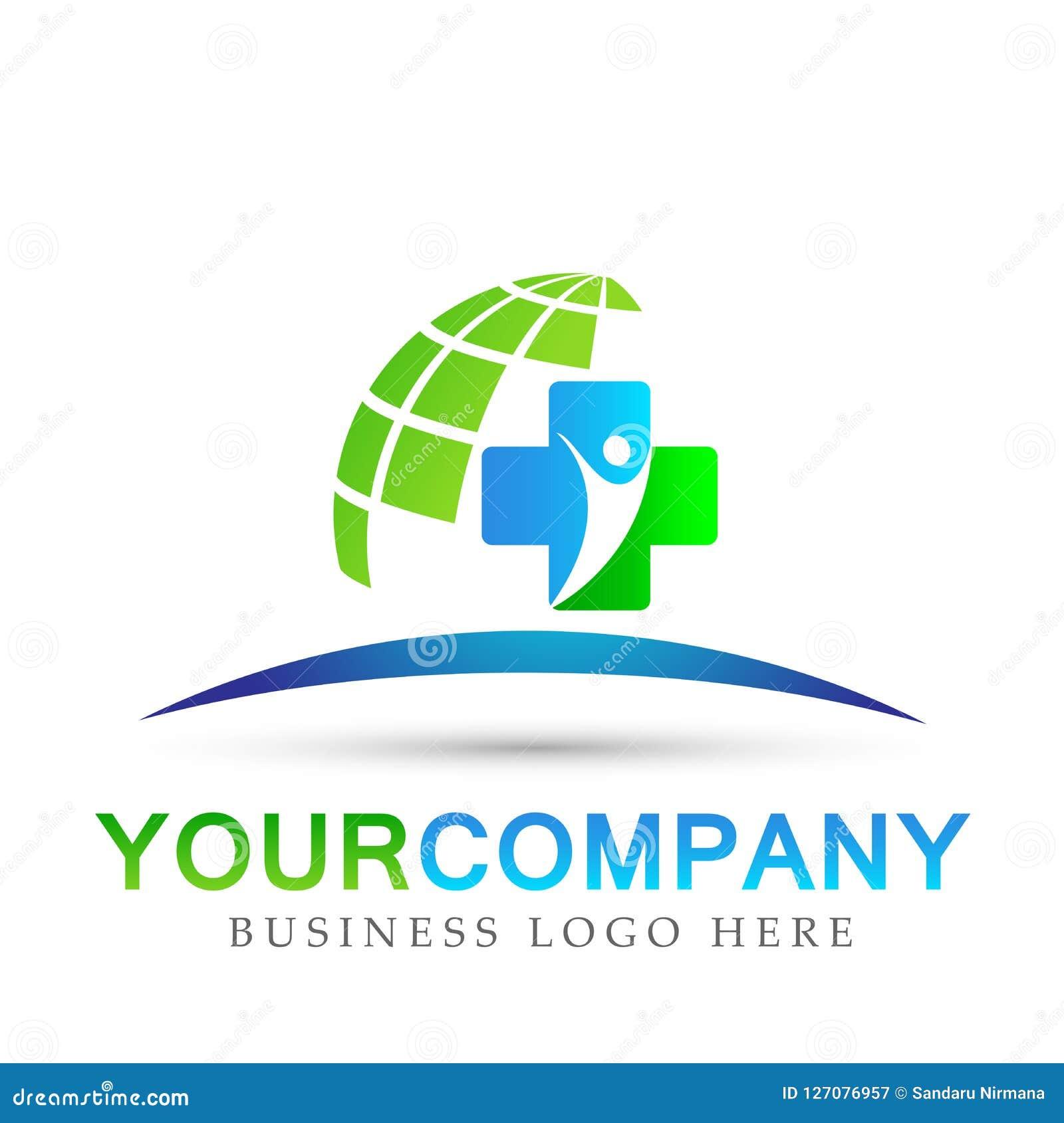 Segno dell elemento dell icona di logo di concetto di salute della famiglia del globo di assistenza medica su fondo bianco