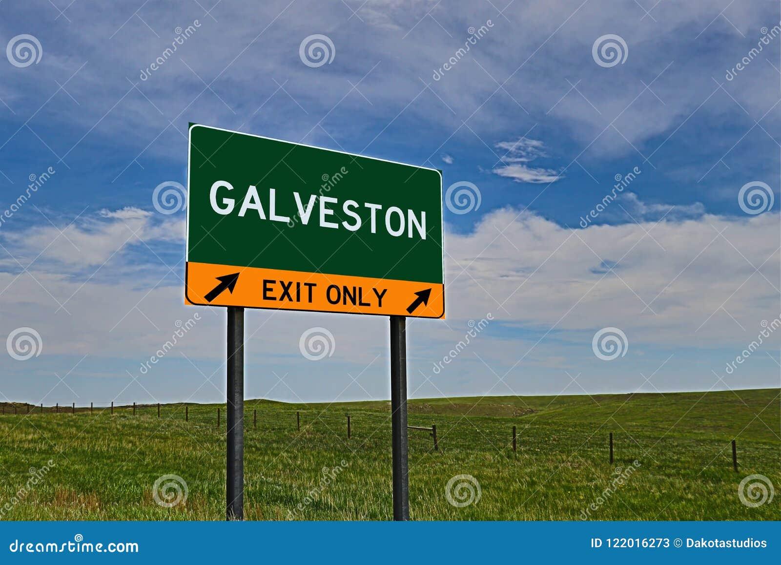 Segno dell uscita della strada principale degli Stati Uniti per Galveston