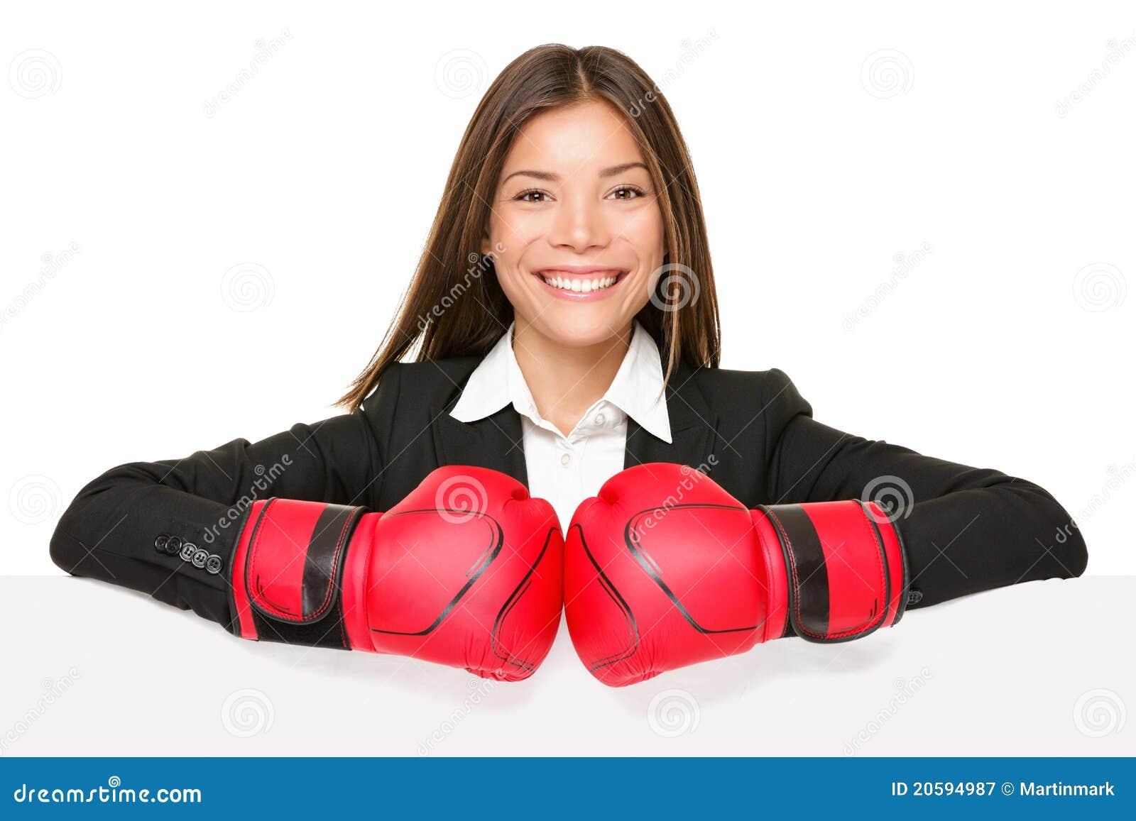 Segno della donna di affari - guanti di inscatolamento