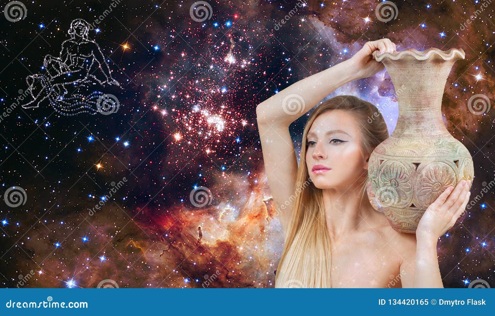 Segno dello zodiaco di acquario Astrologia e oroscopo Bello acquario della donna sui precedenti della galassia