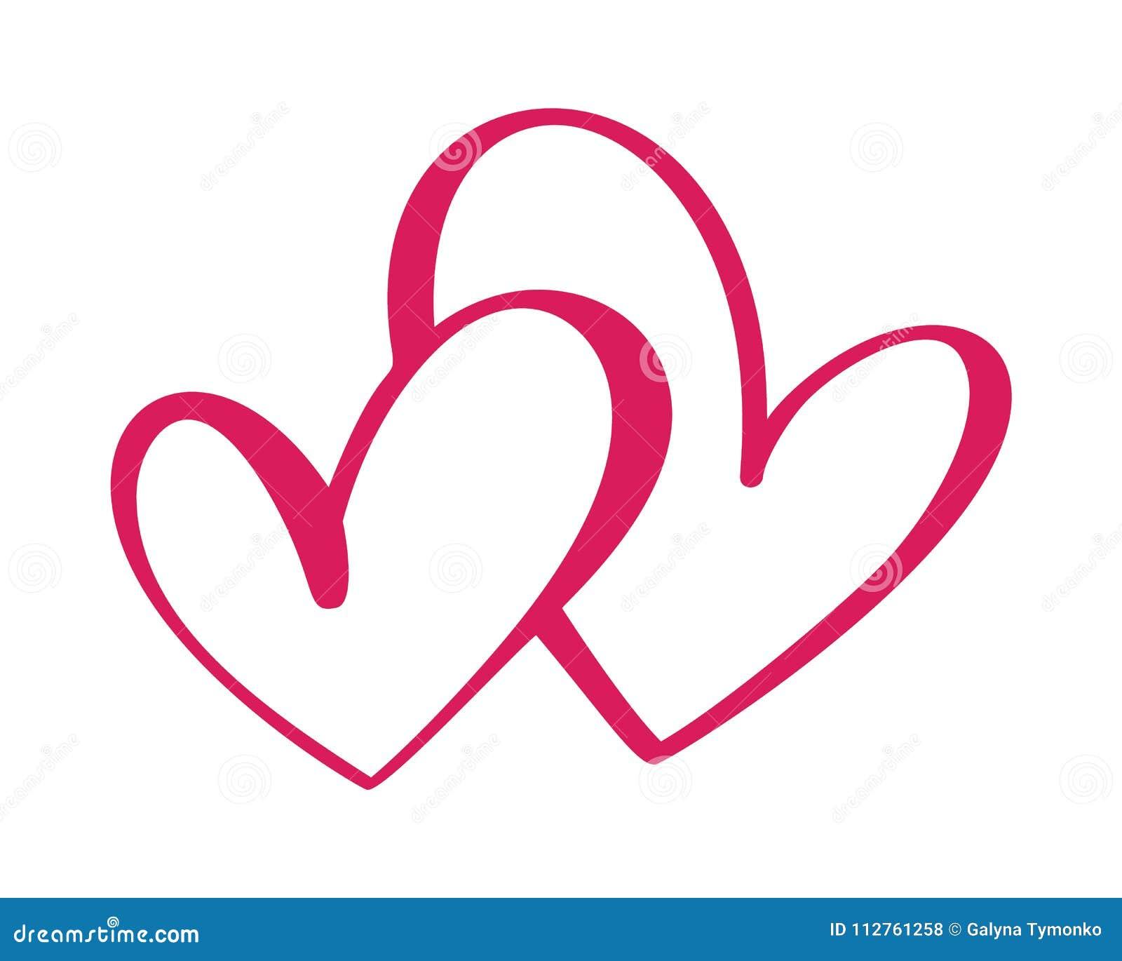 Segno di amore del cuore due Icona su priorità bassa bianca Il simbolo romantico si è collegato, si unisce, passione e nozze Mode