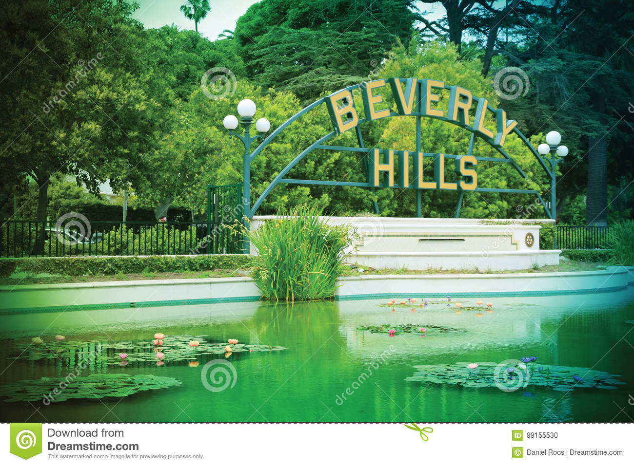 Segno di Beverly Hills a Beverly Gardens Park, Los Angeles