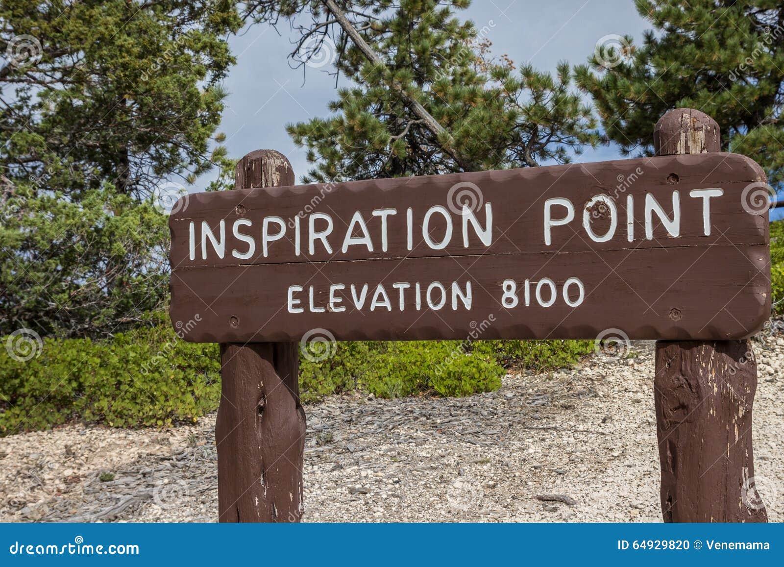 Segno di legno al punto di ispirazione in Bryce Canyon