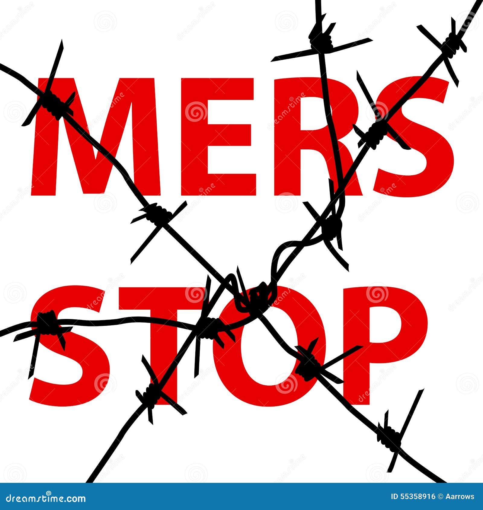 Segno di Mers Corona Virus di arresto del filo spinato del fondo Illu di vettore