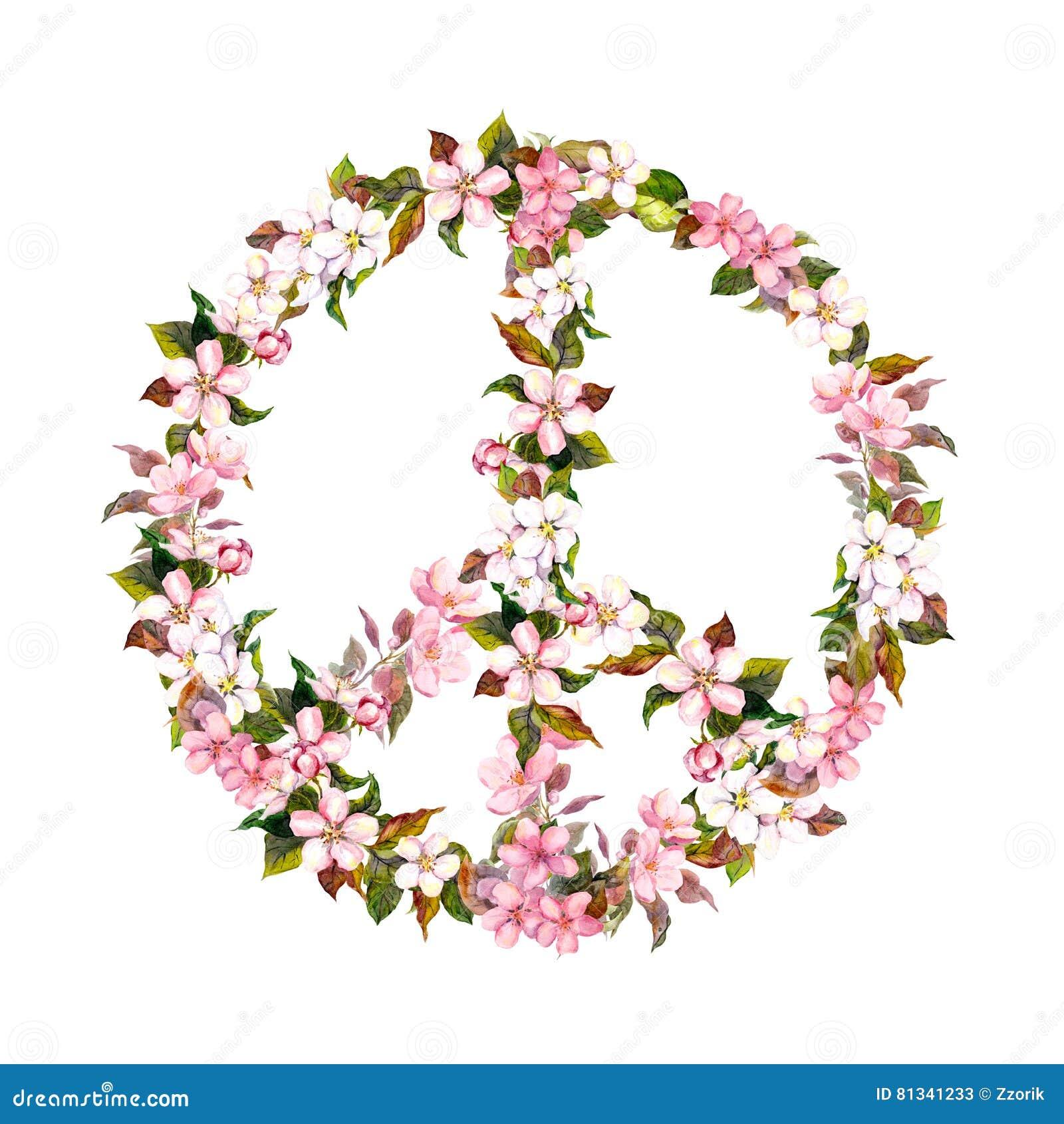 Segno di pace, fiori rosa - fiore di ciliegia, sakura watercolor