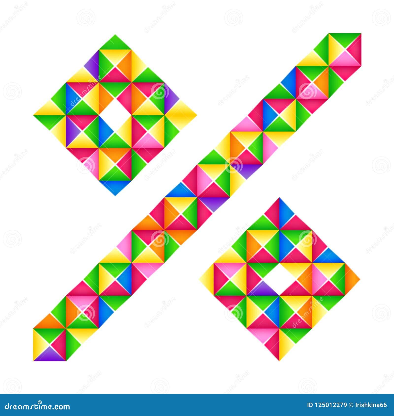 Segno di percentuali di origami Un effetto realistico di origami 3D della lettera isolato Figura dell alfabeto, cifra