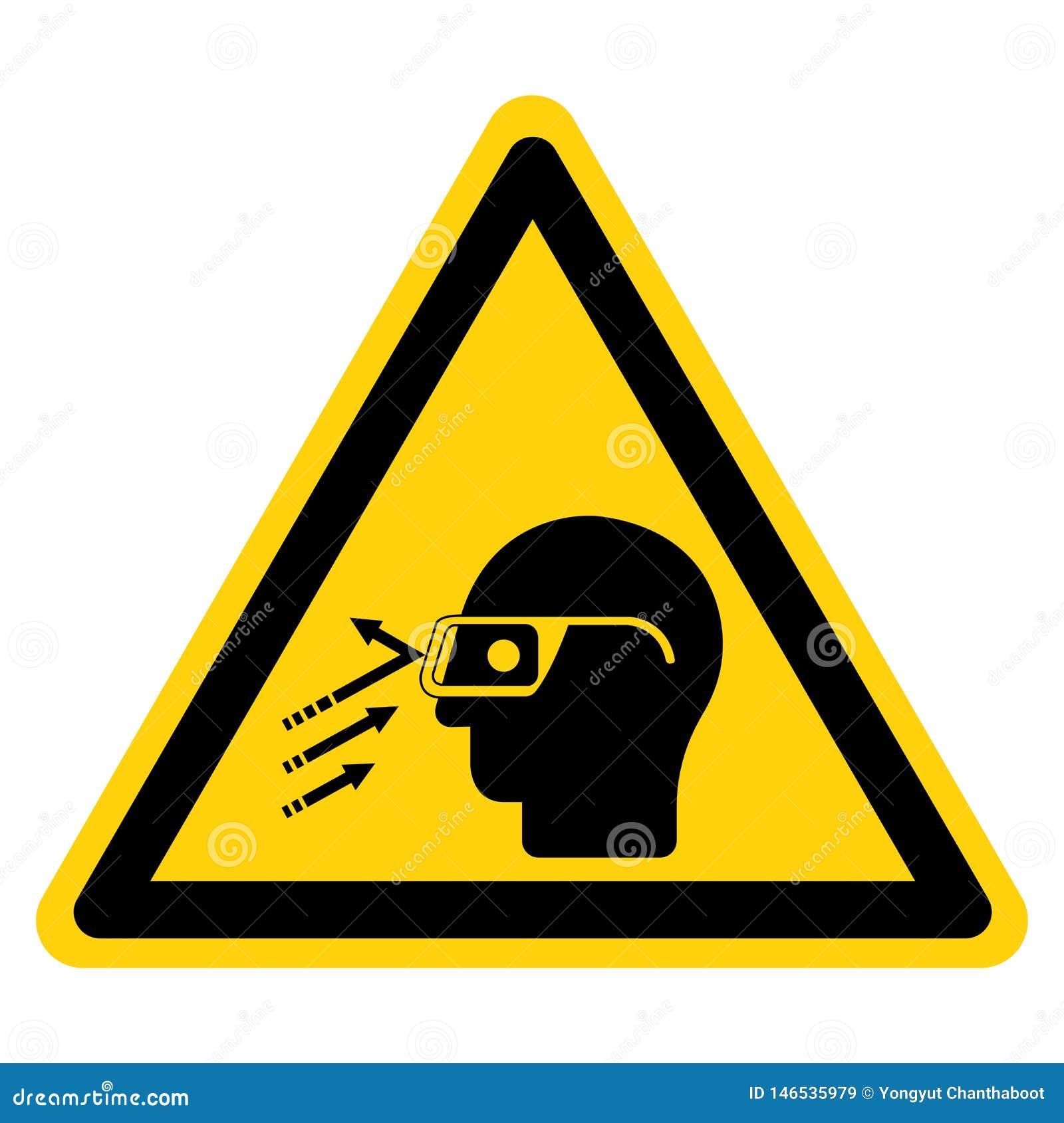 Segno di simbolo degli occhiali di protezione di usura del detrito ricadente, illustrazione di vettore, isolato sull etichetta bi