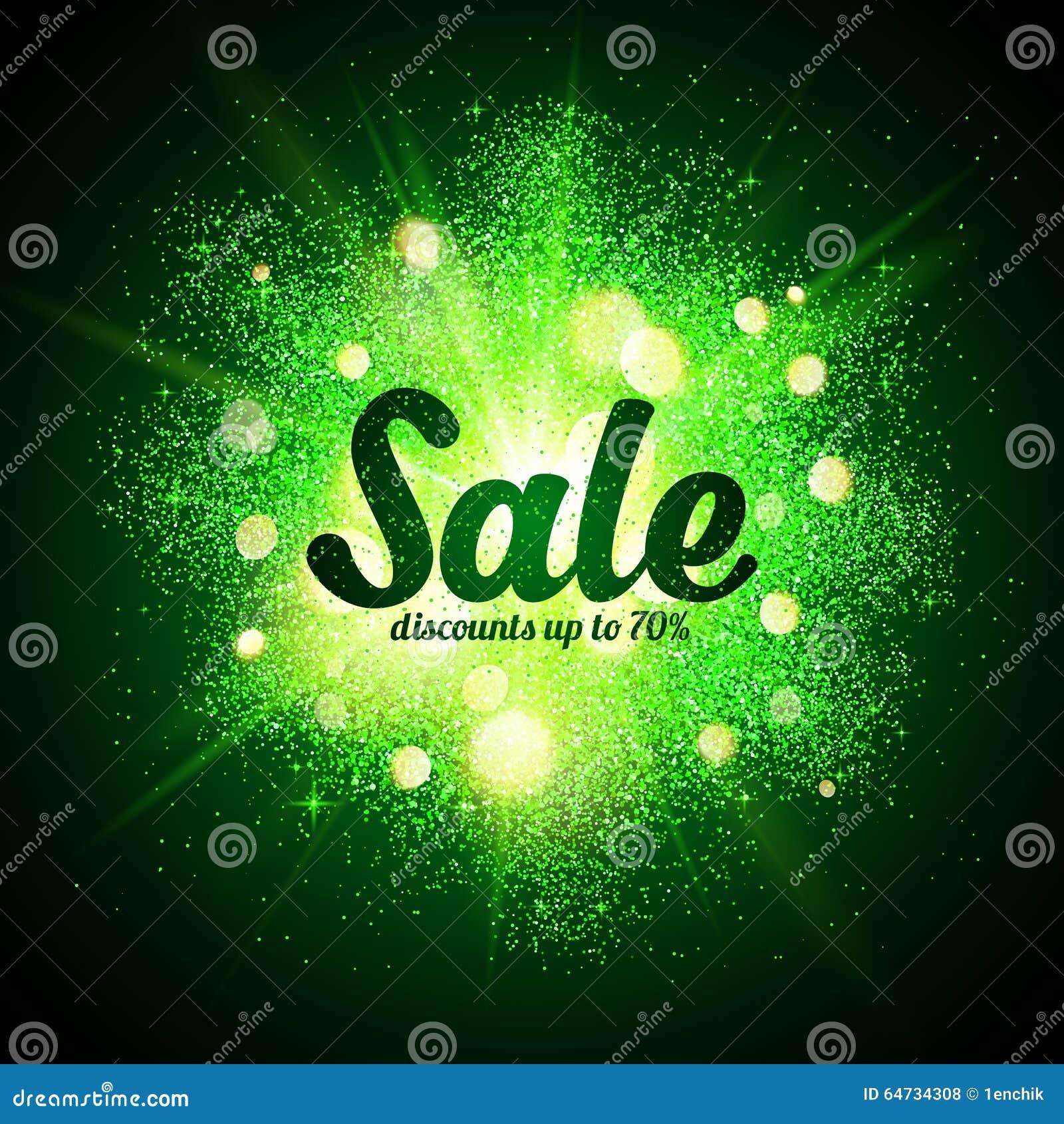 Segno di vendita sulla spruzzata cosmica di scintillio verde a buio