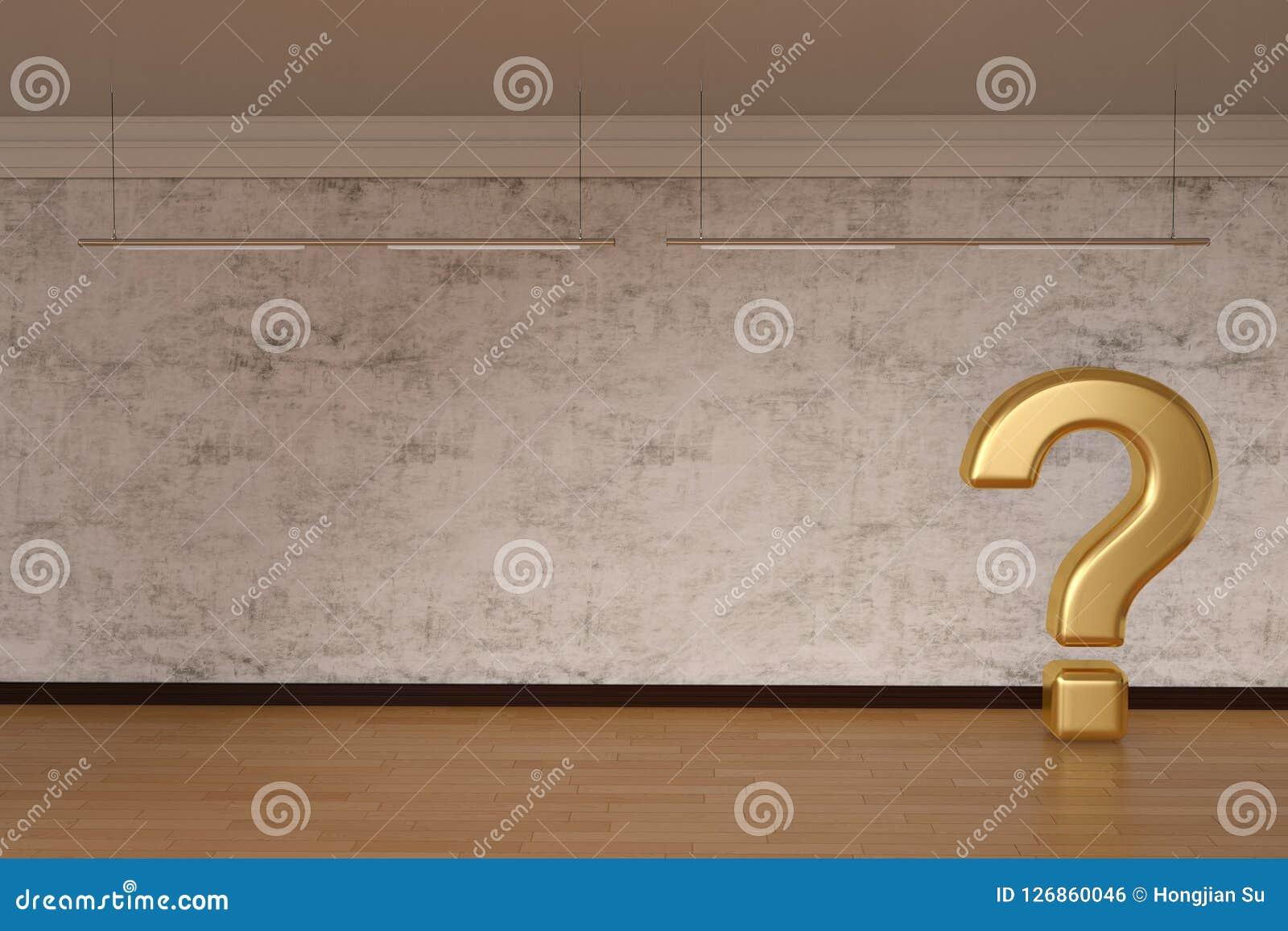 Segno dorato del punto interrogativo sull illustrazione del legno del pavimento 3D