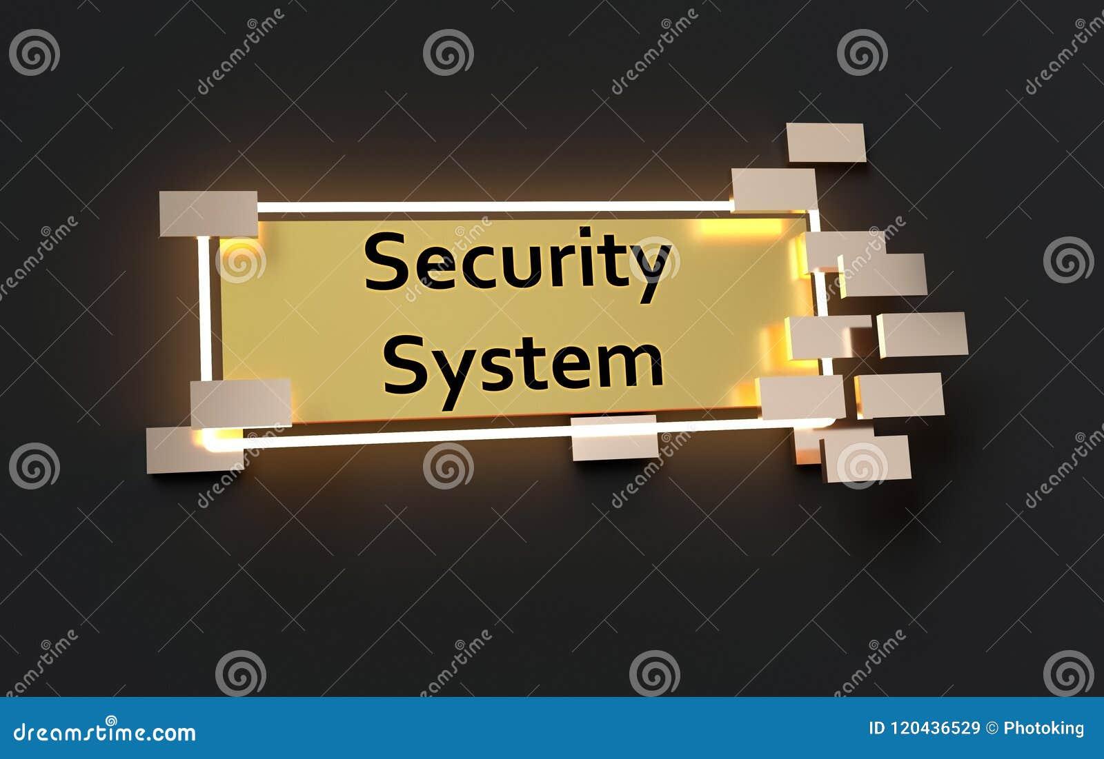Segno dorato moderno del sistema di sicurezza