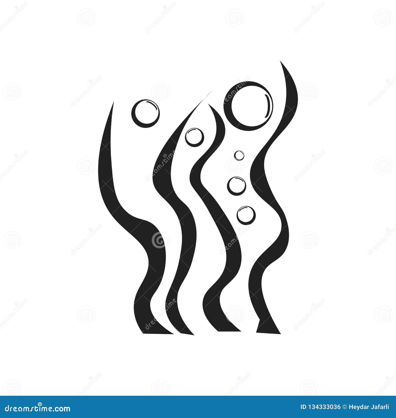 Segno e simbolo di vettore dell icona dell alga isolati su fondo bianco, concetto di logo dell alga