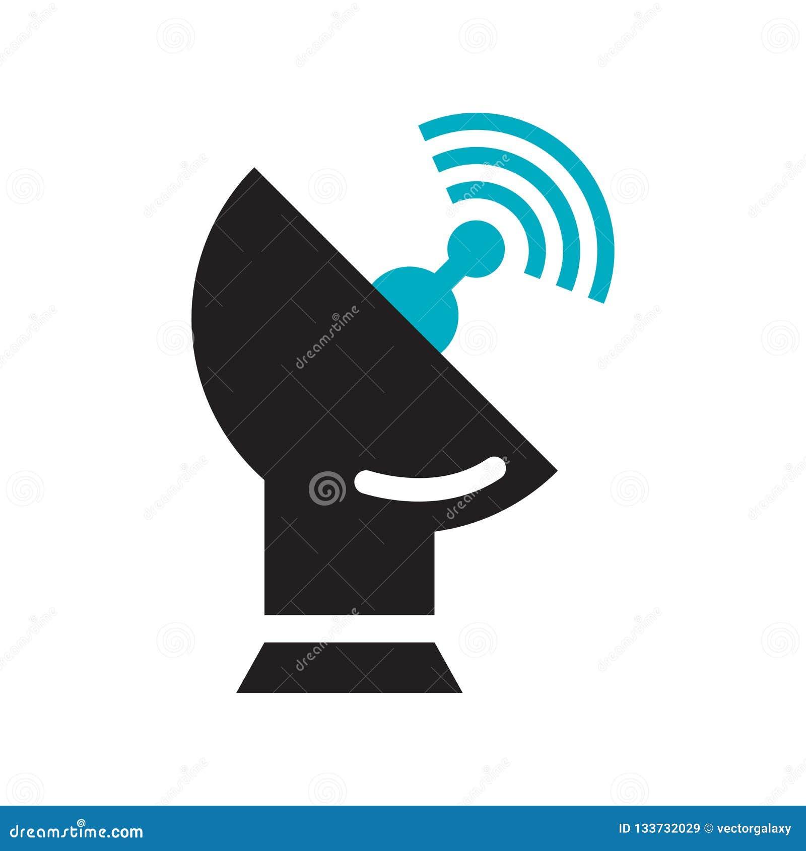 Segno e simbolo di vettore dell icona dell antenna satellitare isolati su fondo bianco, concetto di logo dell antenna satellitare