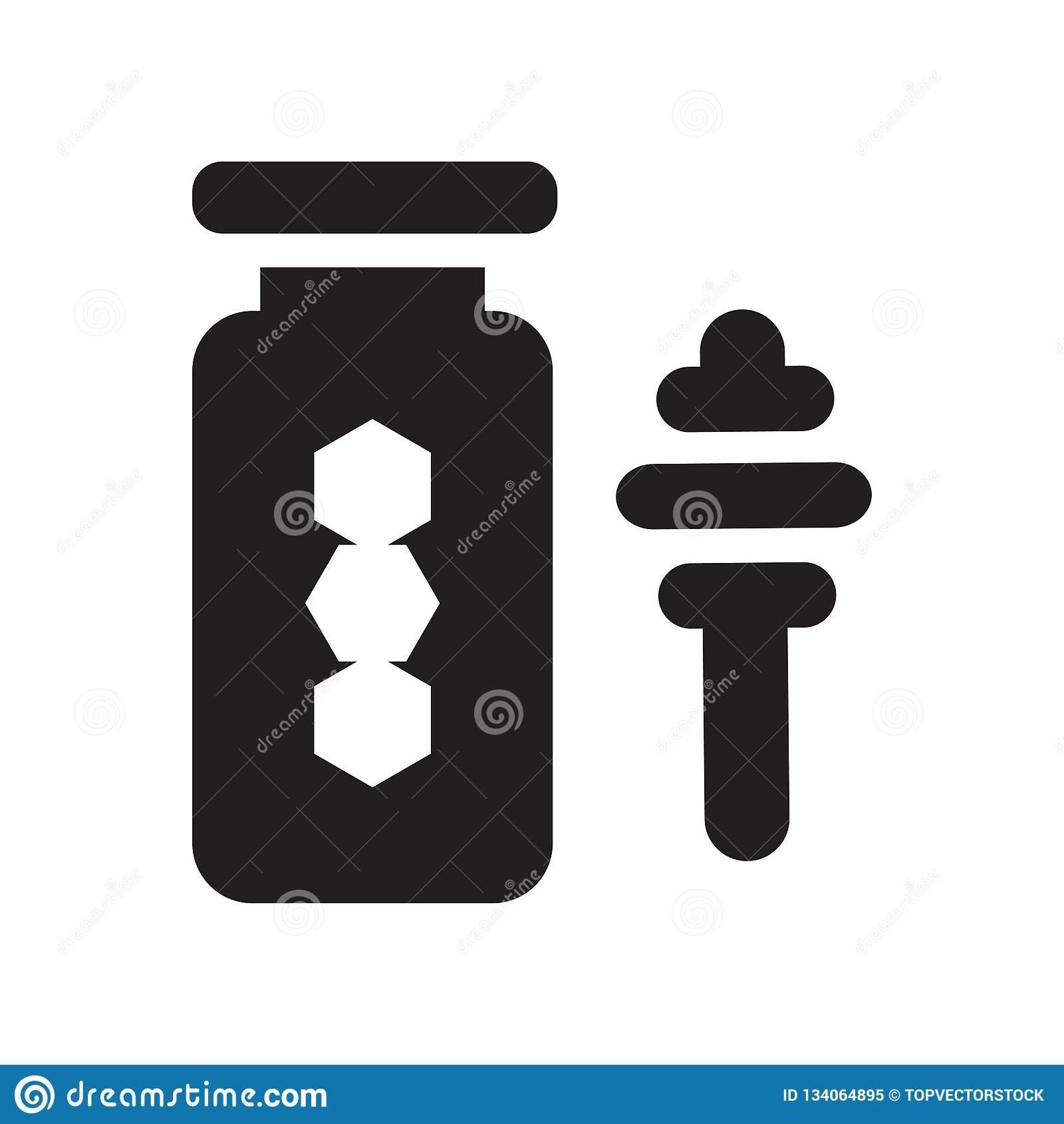 Segno e simbolo di vettore dell icona del miele isolati su fondo bianco, concetto di logo del miele
