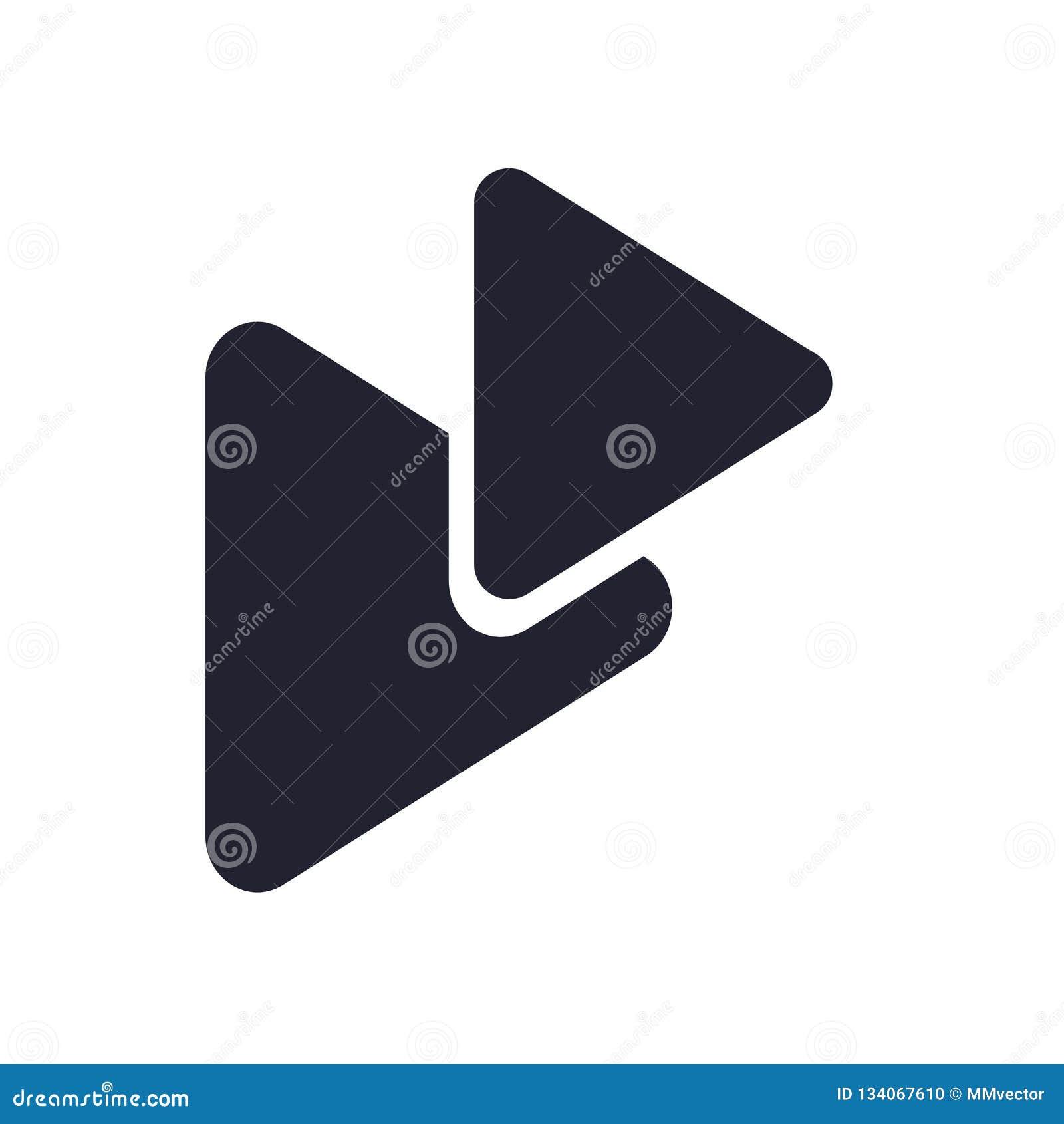 Segno e simbolo di vettore dell icona del tasto di riproduzione isolati su fondo bianco, concetto di logo del tasto di riproduzio