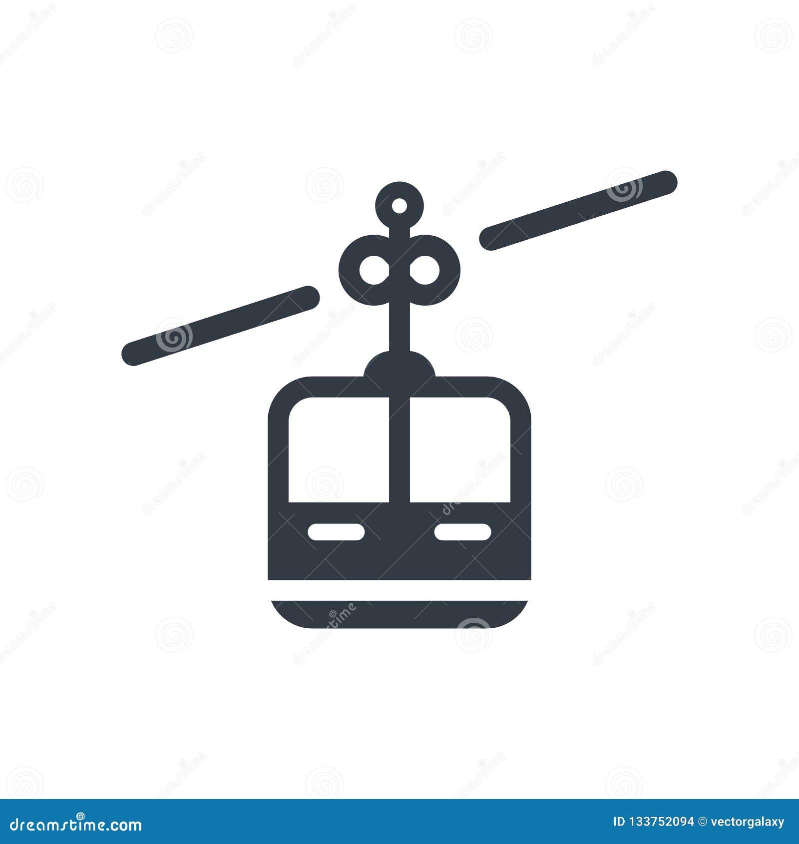 Segno e simbolo di vettore dell icona della cabina della cabina di funivia isolati sulle sedere bianche