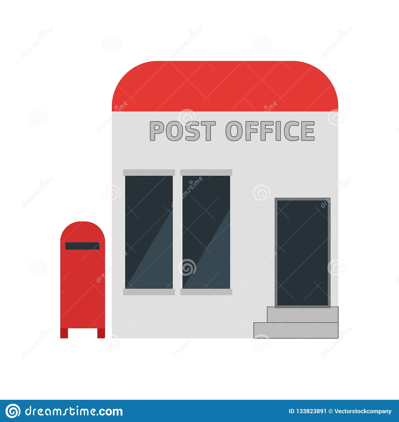 Segno e simbolo di vettore dell icona dell ufficio postale isolati su fondo bianco, concetto di logo dell ufficio postale