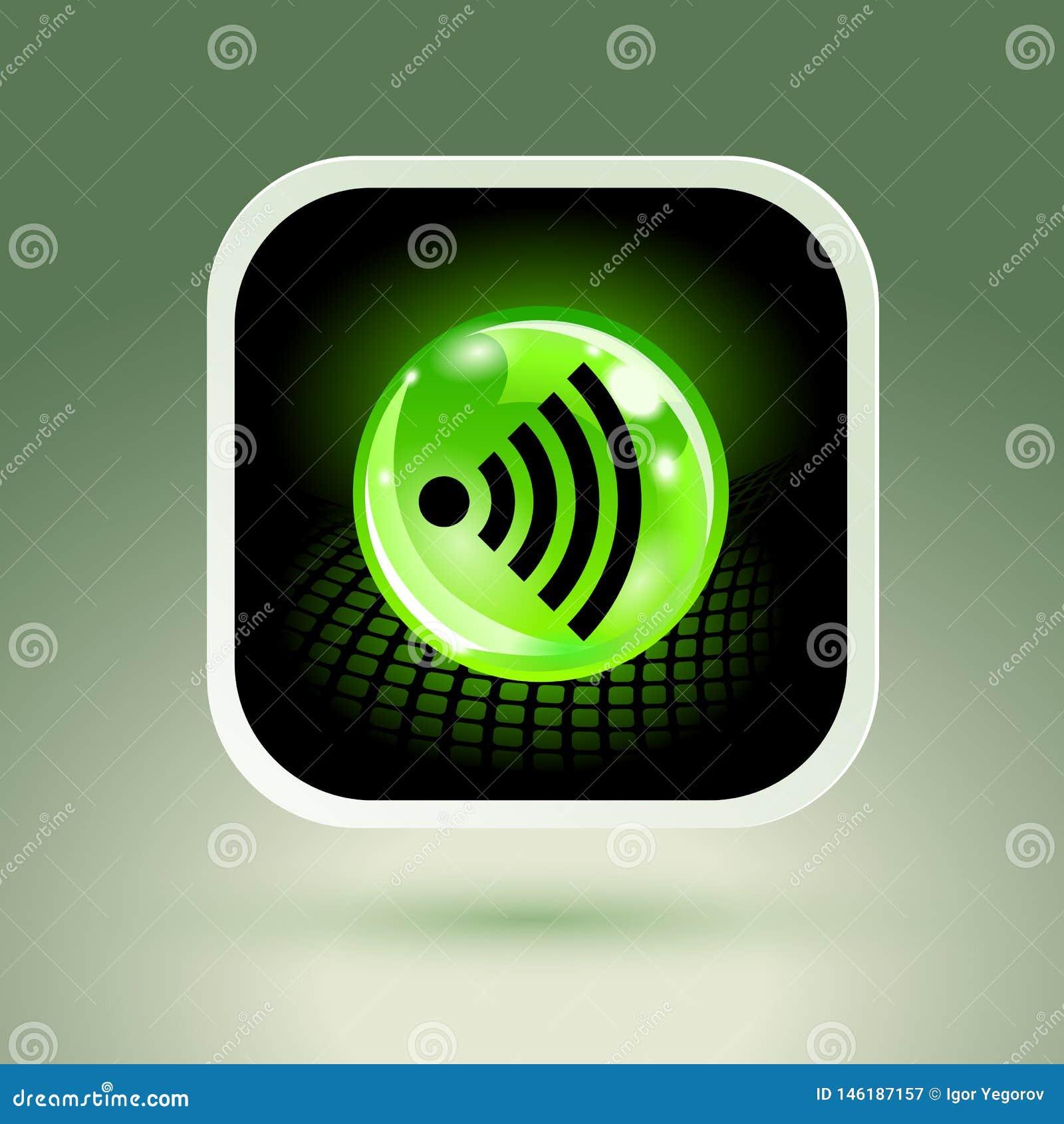 Segno libero di Wifi con l icona quadrata di stile