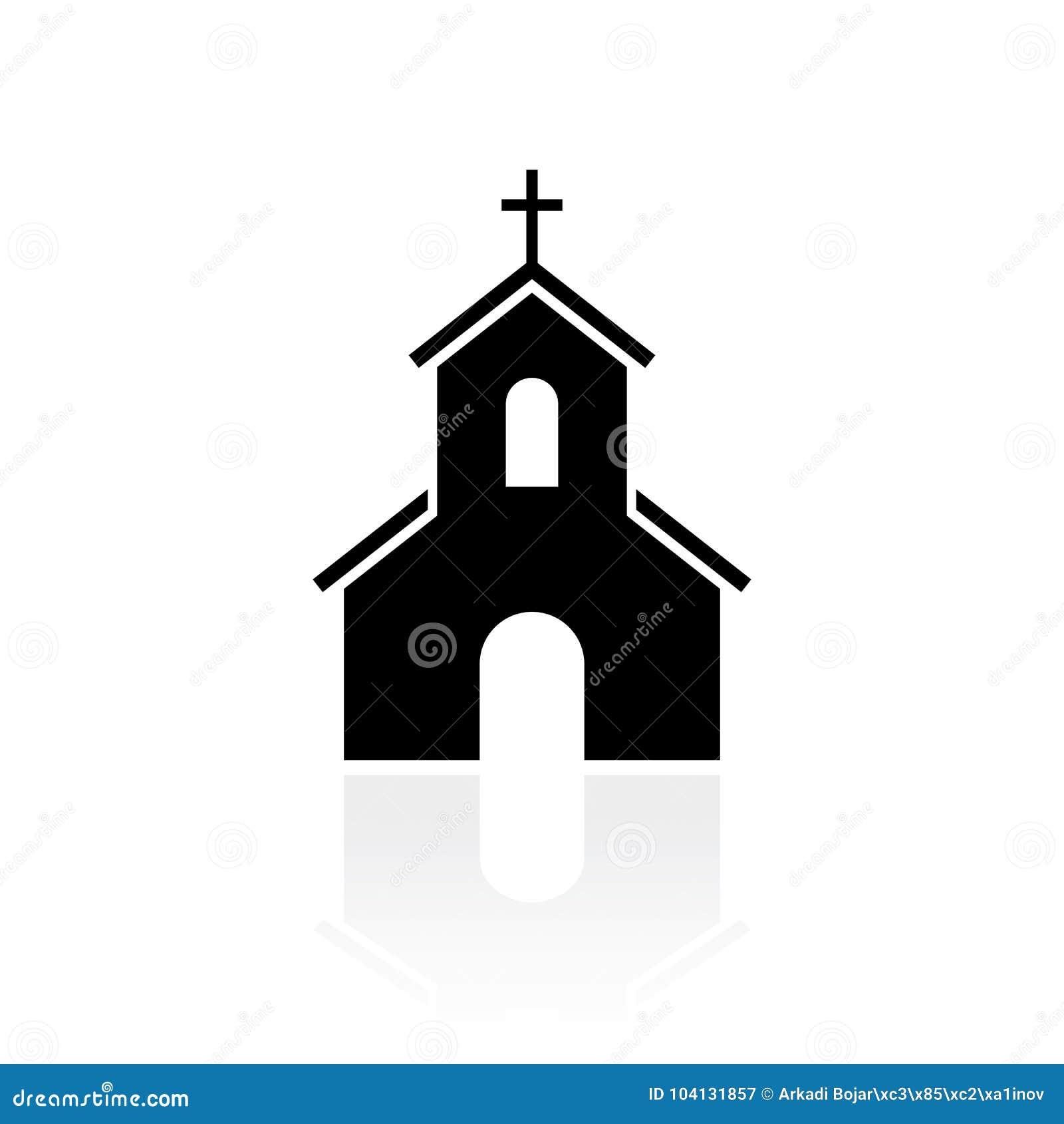 Segno nero di vettore della siluetta della chiesa