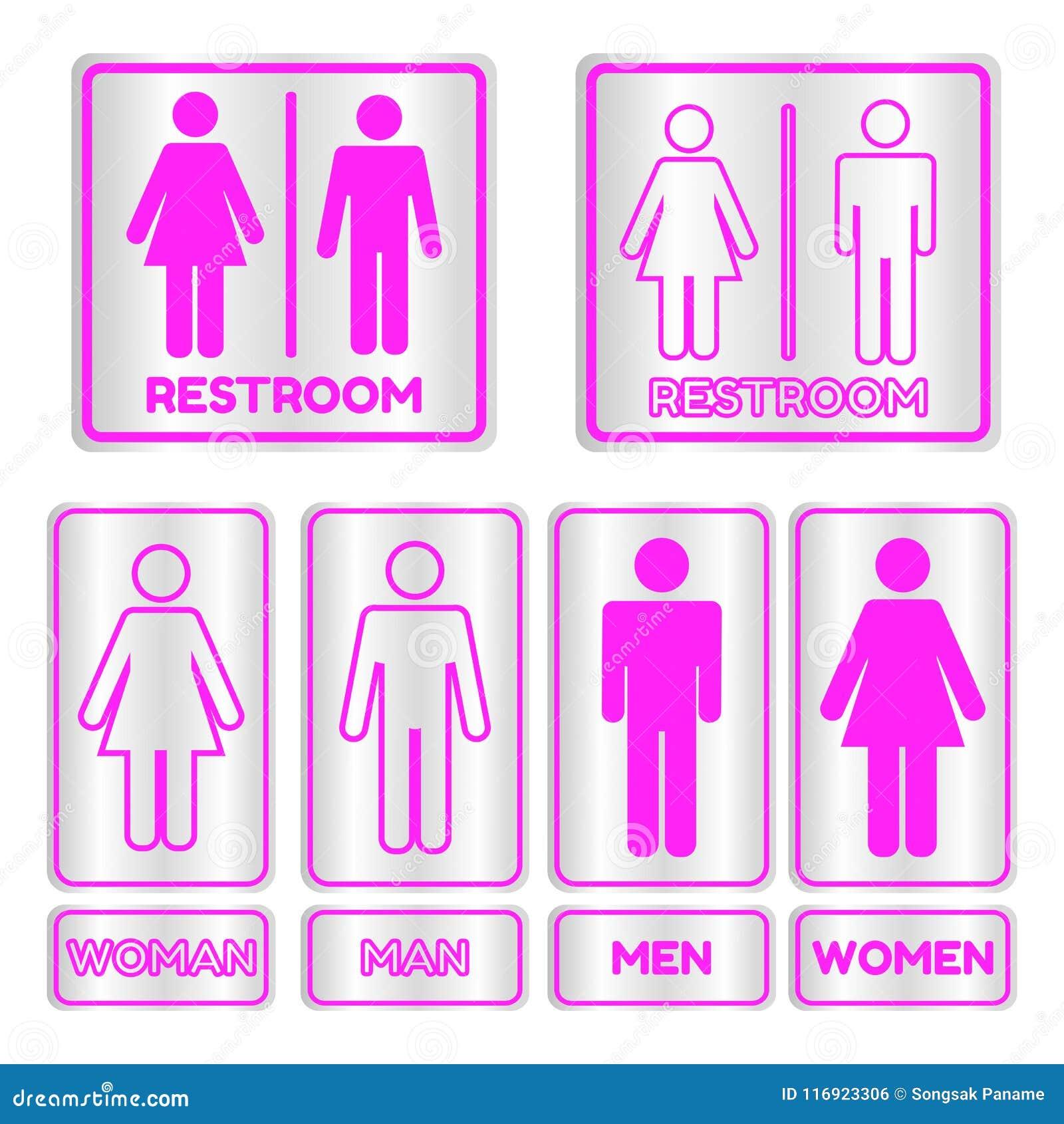 Segno quadrato rosa della toilette messo con testo