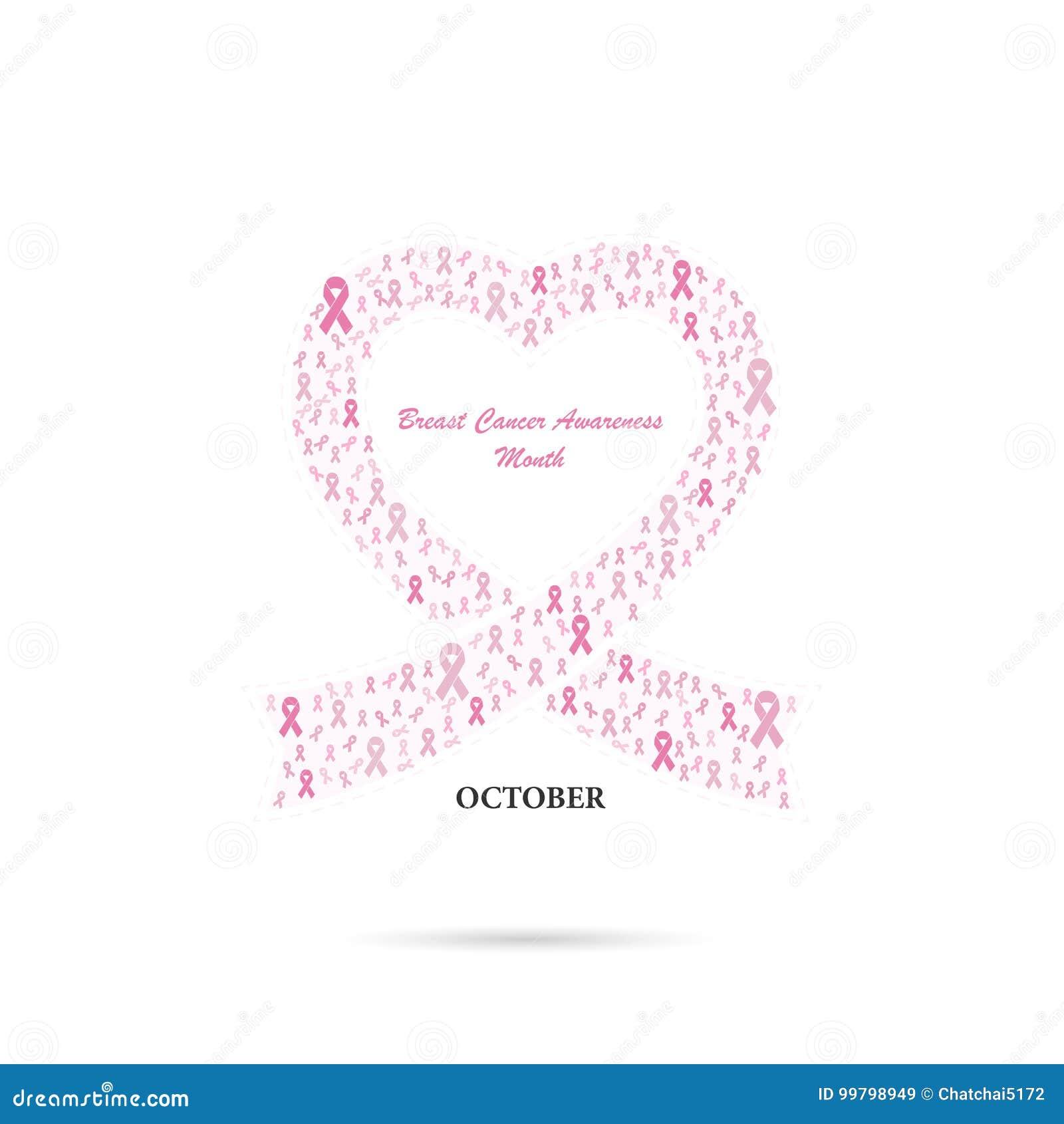 Segno rosa del nastro del cuore Camma di mese di consapevolezza di ottobre del cancro al seno